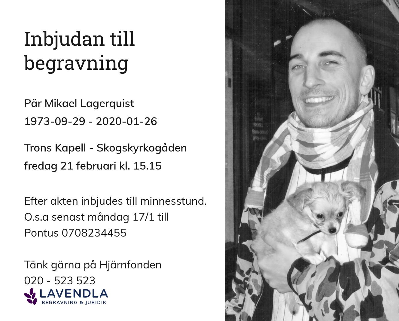 Inbjudningskort till ceremonin för Pär Mikael Lagerquist