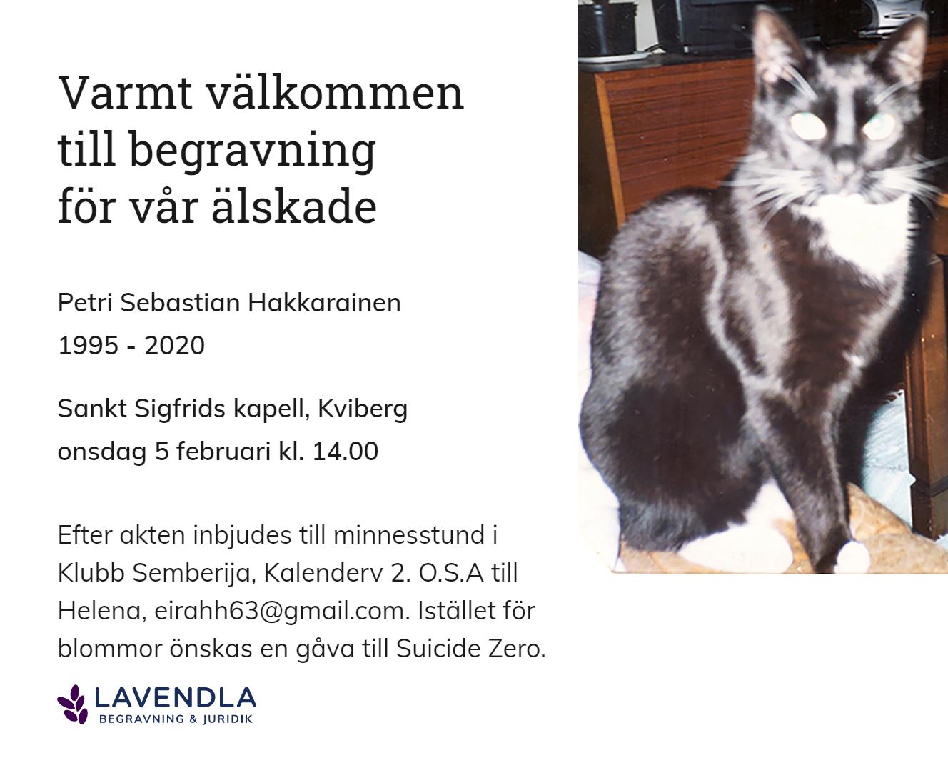Inbjudningskort till ceremonin för Petri Sebastian Hakkarainen
