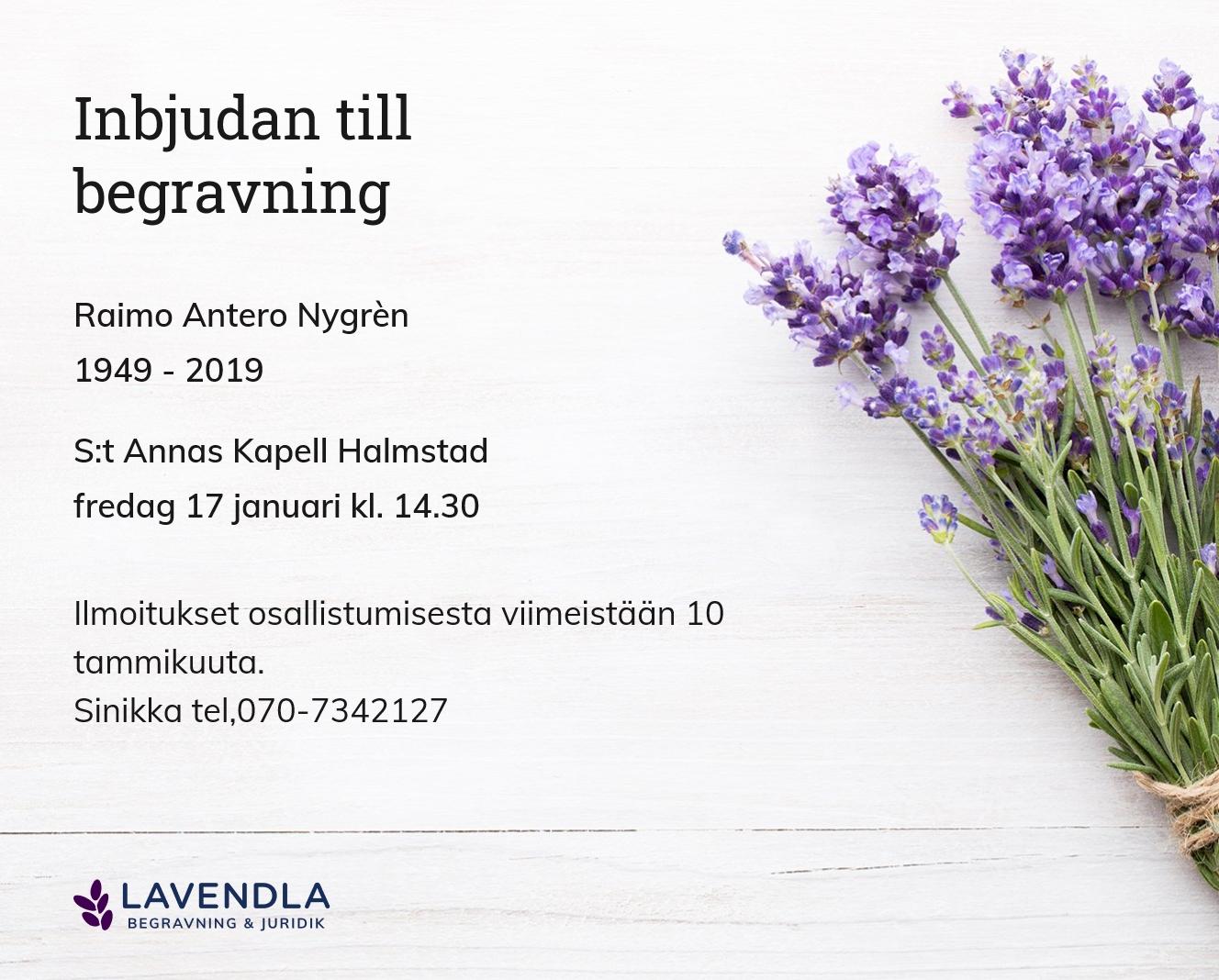 Inbjudningskort till ceremonin för Raimo Antero Nygrèn