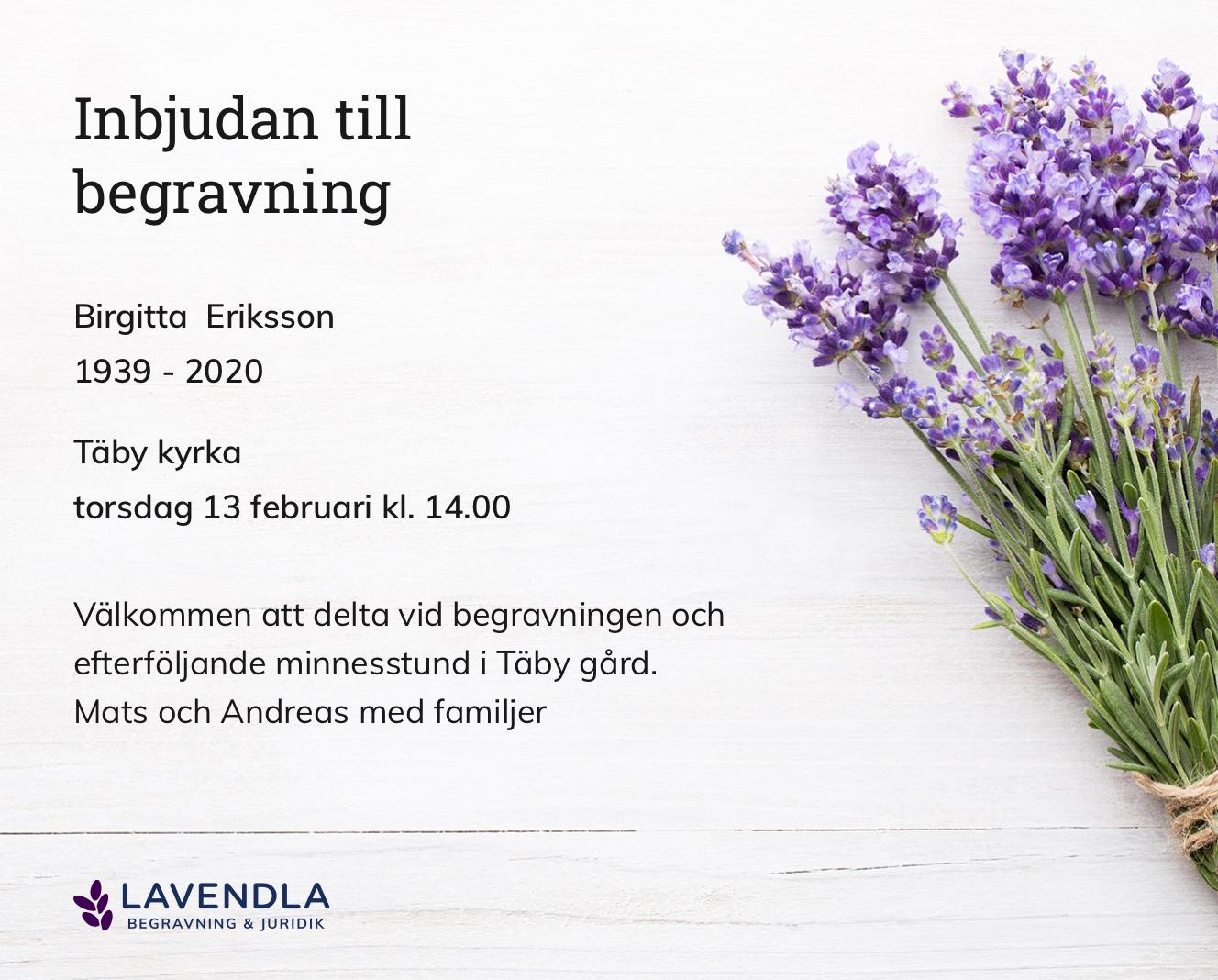 Inbjudningskort till ceremonin för Birgitta Eriksson