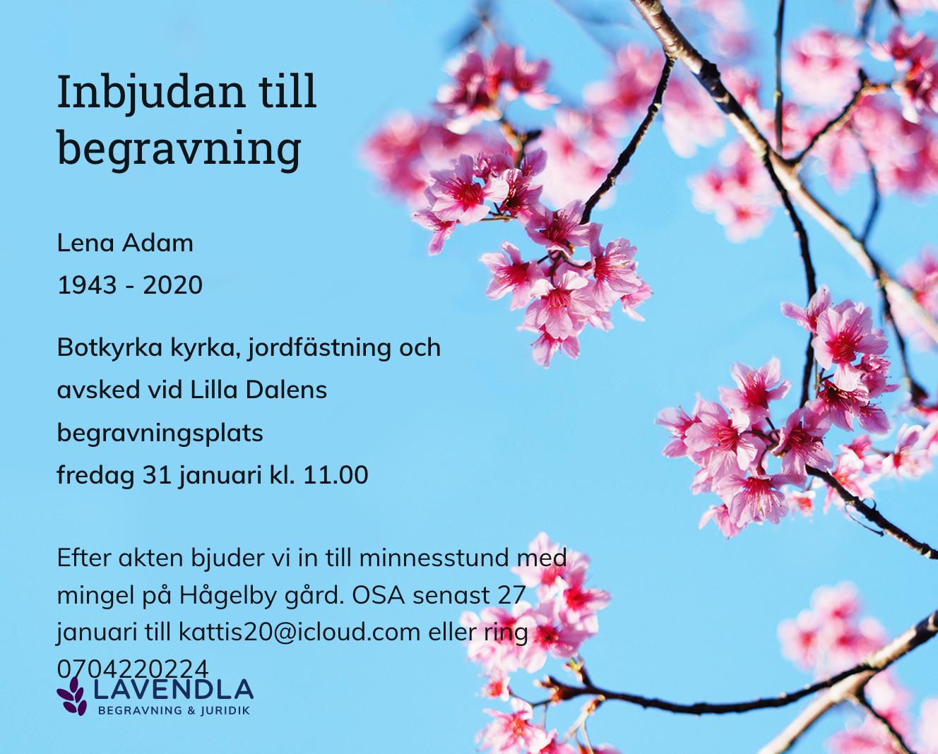 Inbjudningskort till ceremonin för Lena Adam