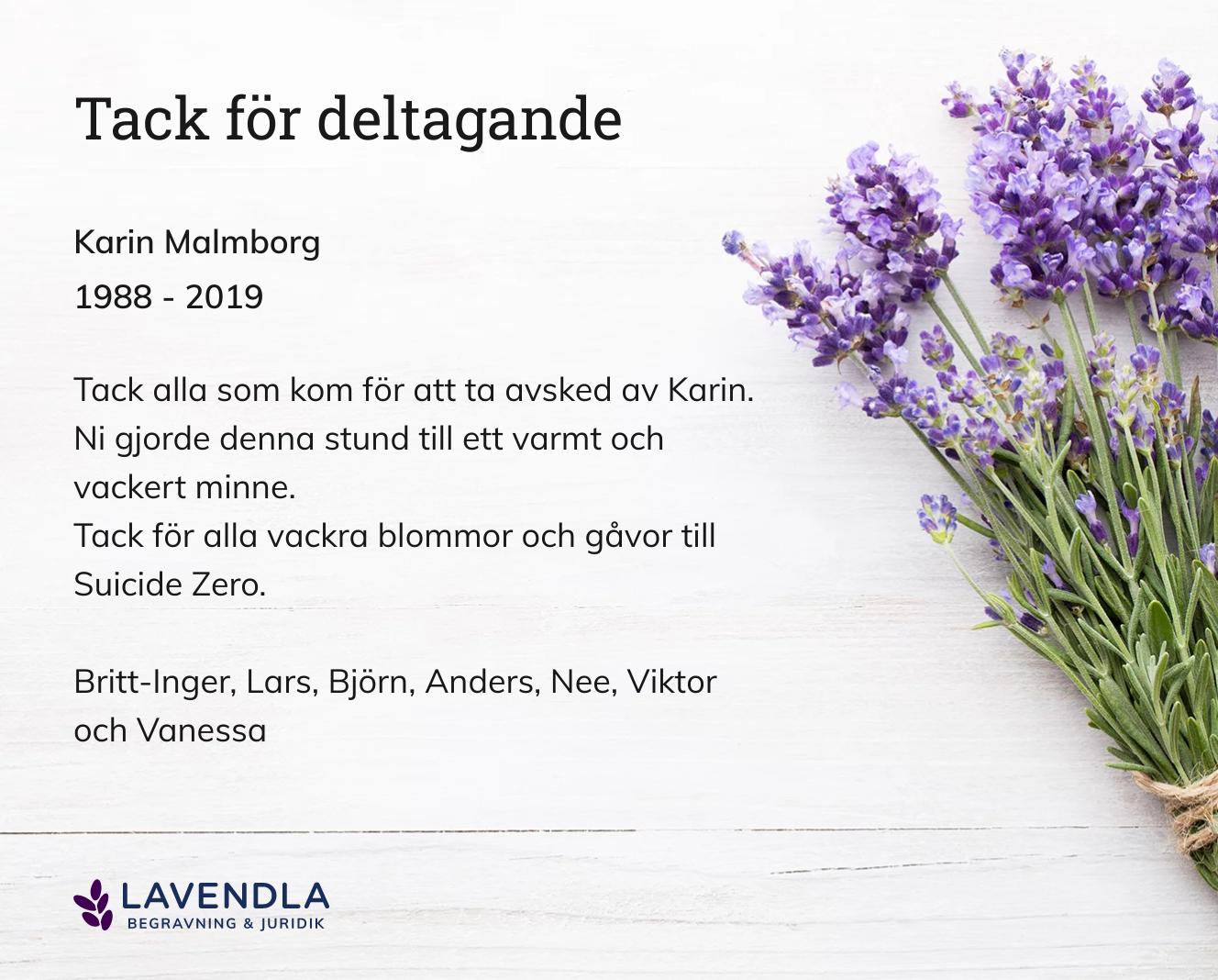 Inbjudningskort till ceremonin för Karin Malmborg