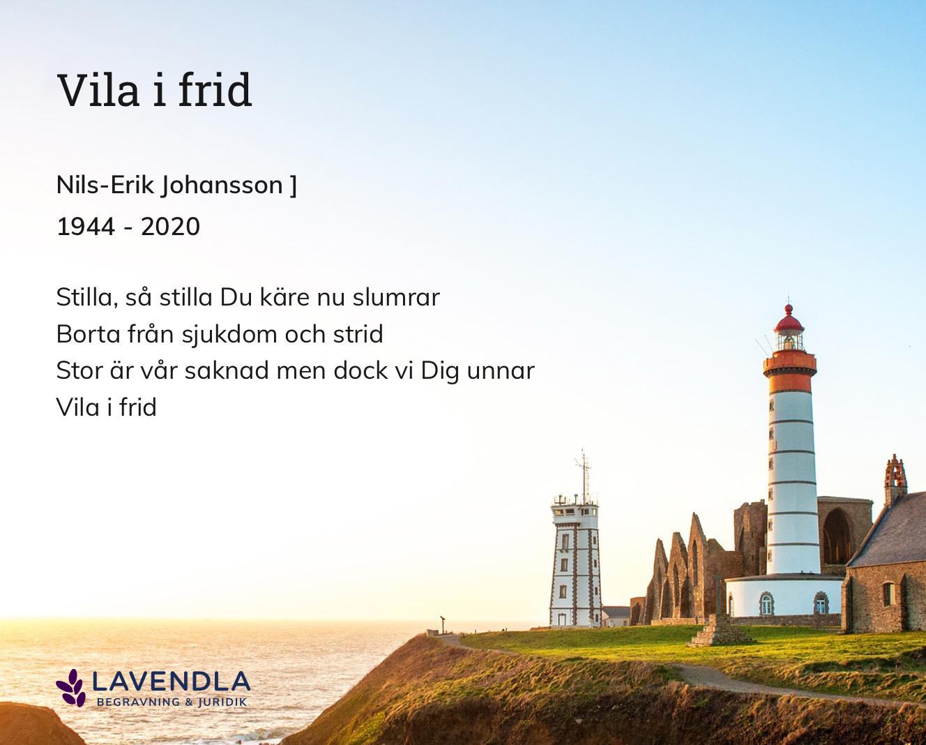 Inbjudningskort till ceremonin för Nils-Erik Johansson ]