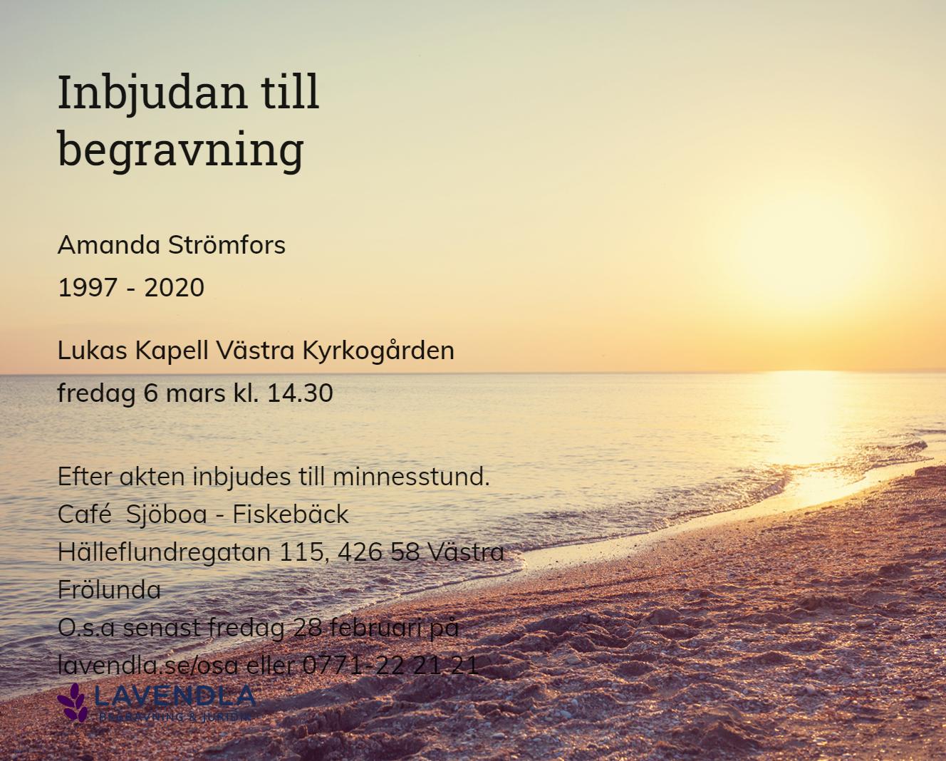 Inbjudningskort till ceremonin för Amanda Strömfors