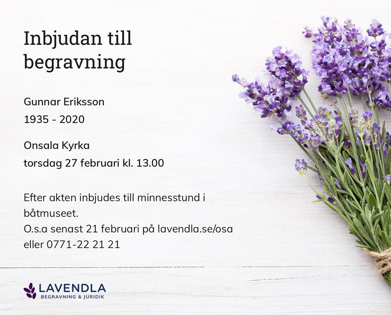 Inbjudningskort till ceremonin för Gunnar Eriksson