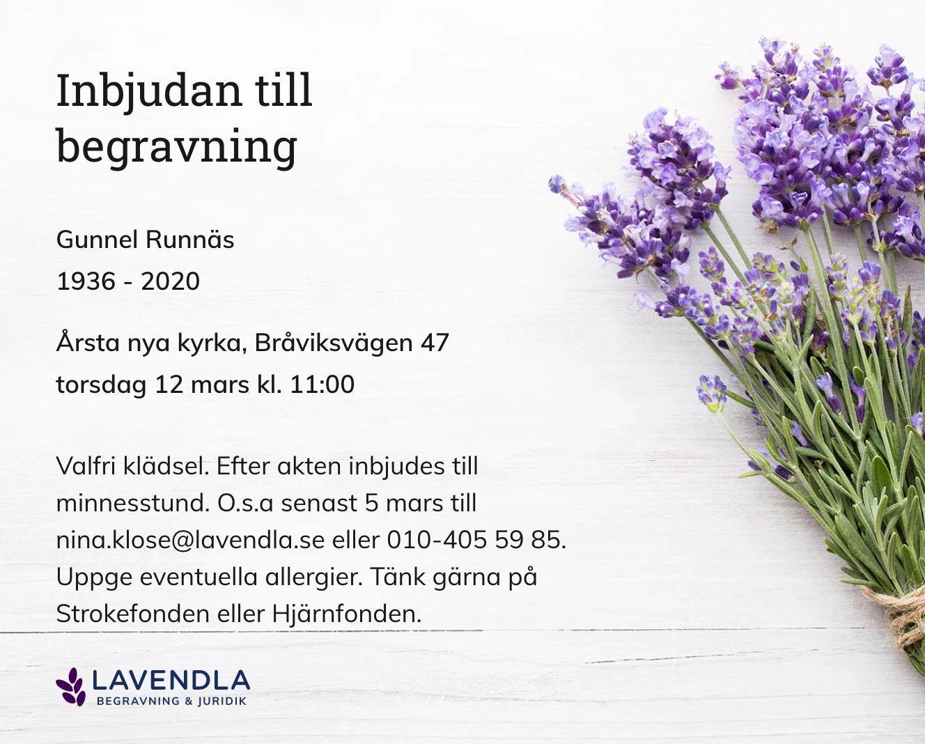 Inbjudningskort till ceremonin för Gunnel Runnäs