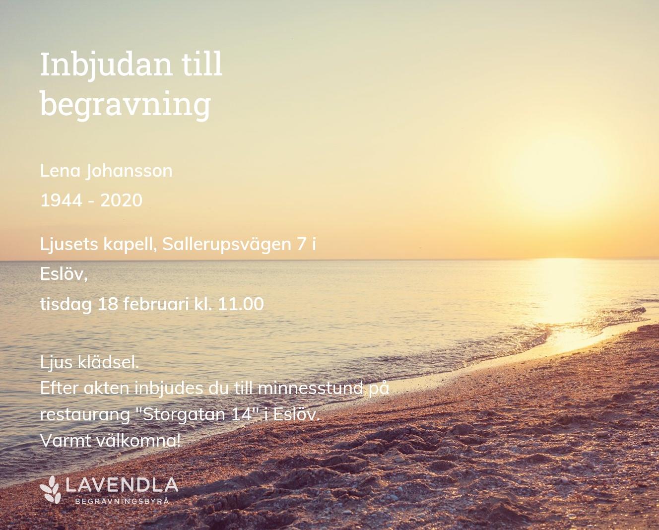 Inbjudningskort till ceremonin för Lena Johansson