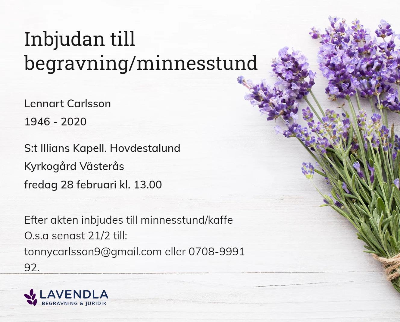 Inbjudningskort till ceremonin för Lennart Carlsson