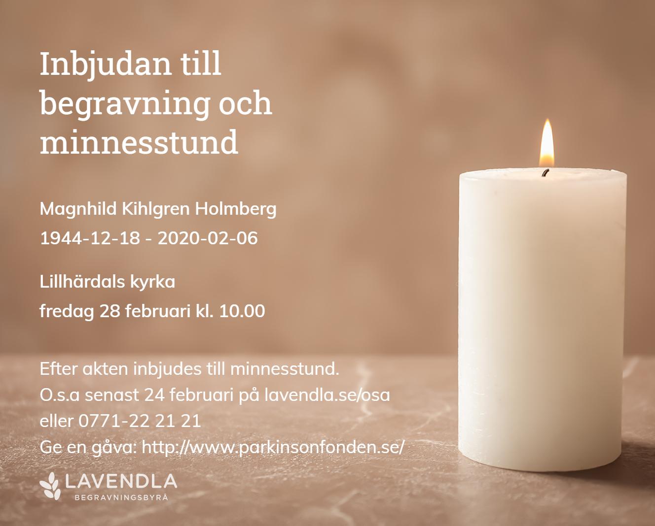 Inbjudningskort till ceremonin för Magnhild Kihlgren Holmberg