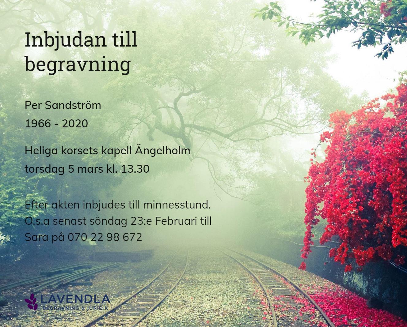 Inbjudningskort till ceremonin för Per Sandström