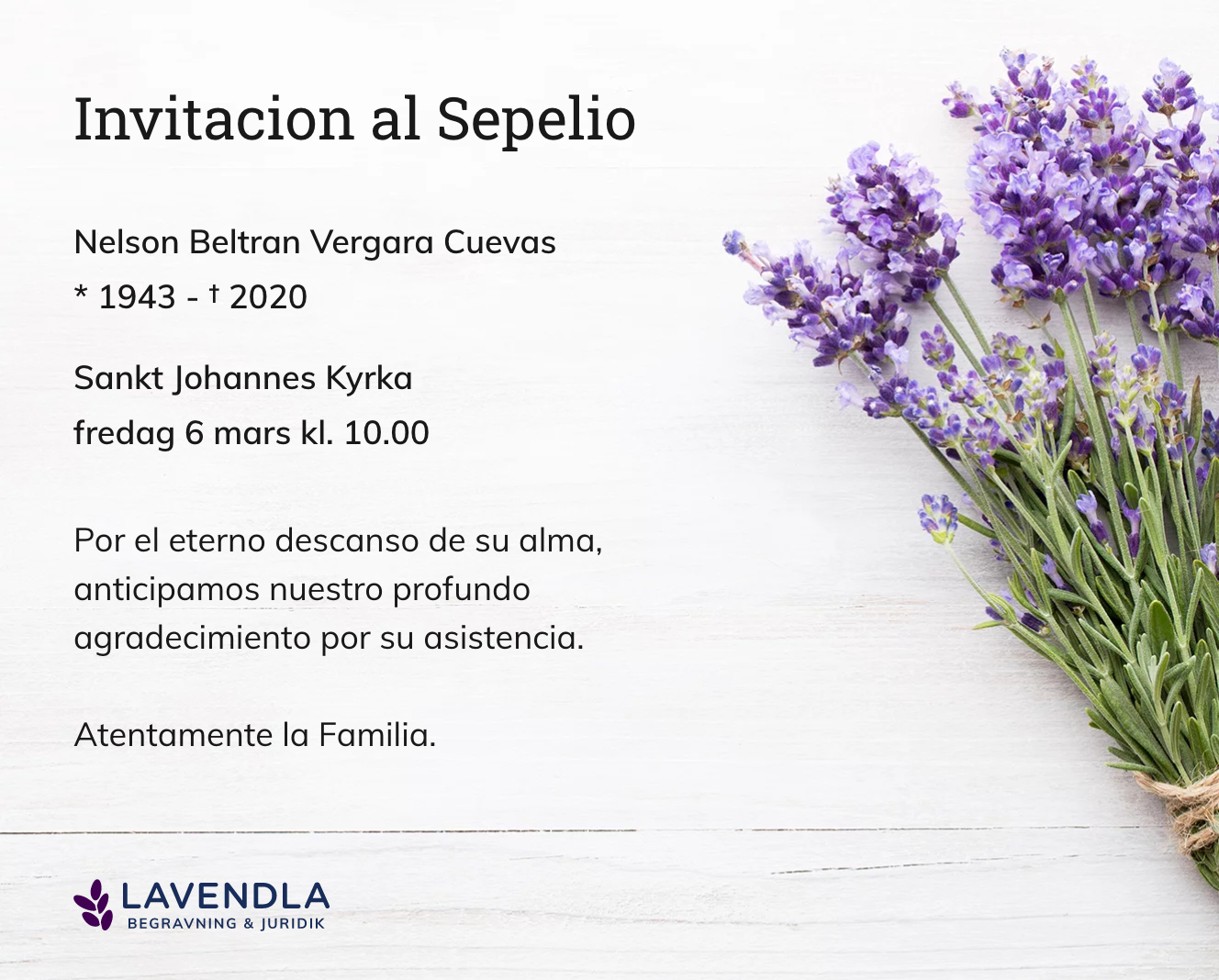 Inbjudningskort till ceremonin för Nelson Beltran Vergara Cuevas