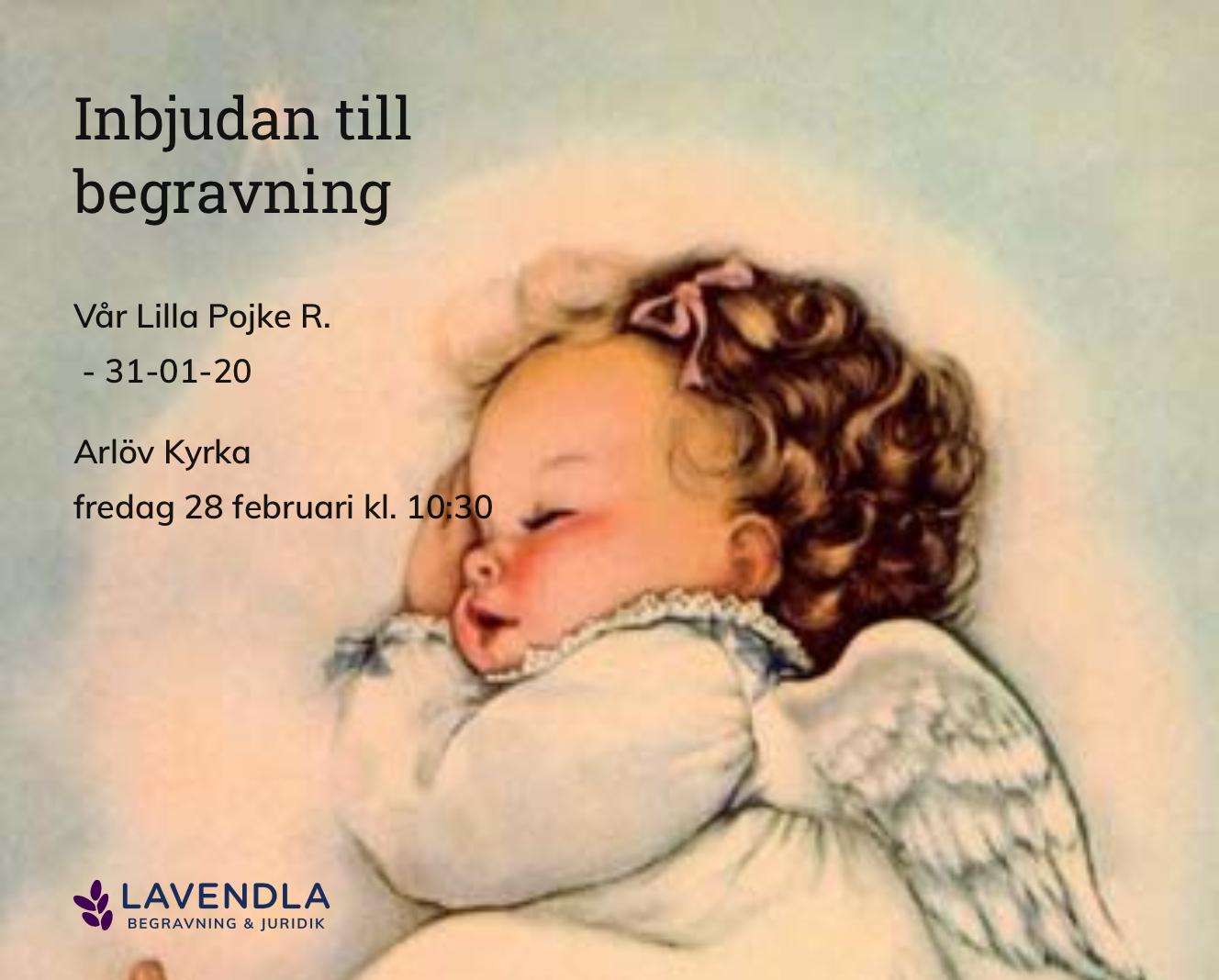 Inbjudningskort till ceremonin för Vår Lilla Pojke R.