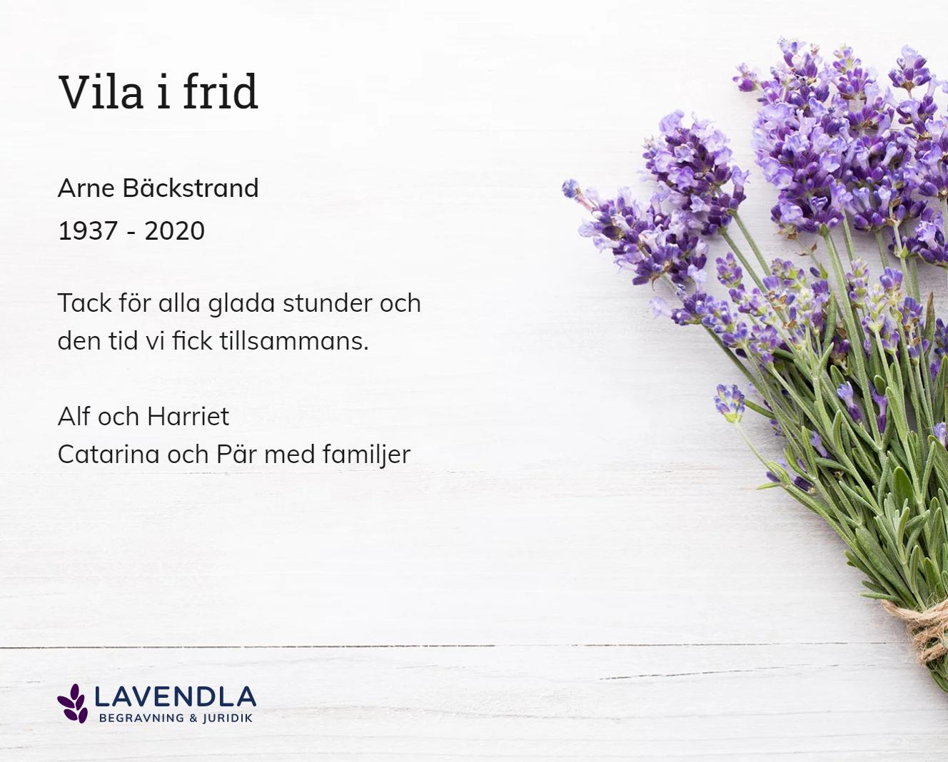Inbjudningskort till ceremonin för Arne Bäckstrand