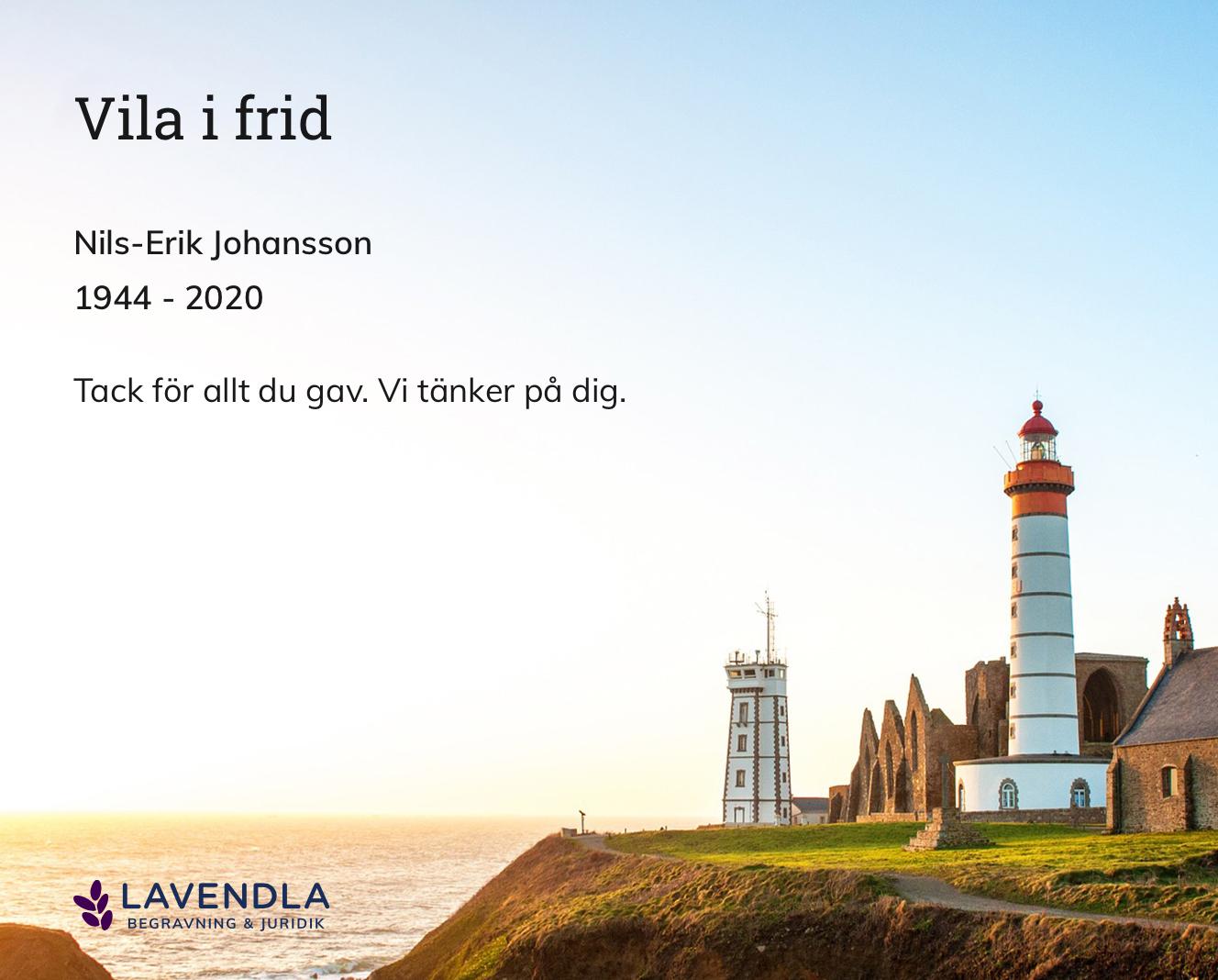 Inbjudningskort till ceremonin för Nils-Erik Johansson