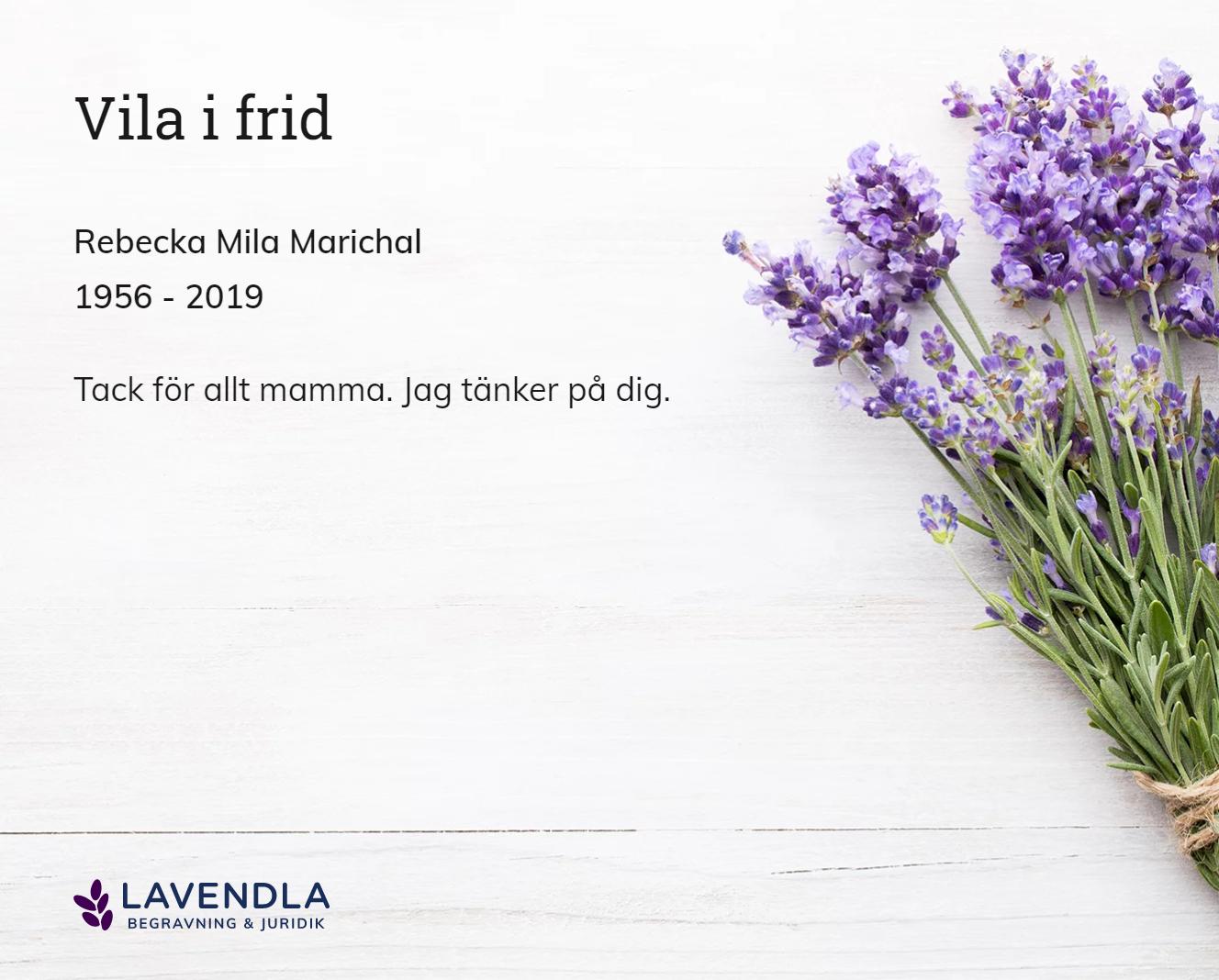 Inbjudningskort till ceremonin för Rebecka Mila Marichal