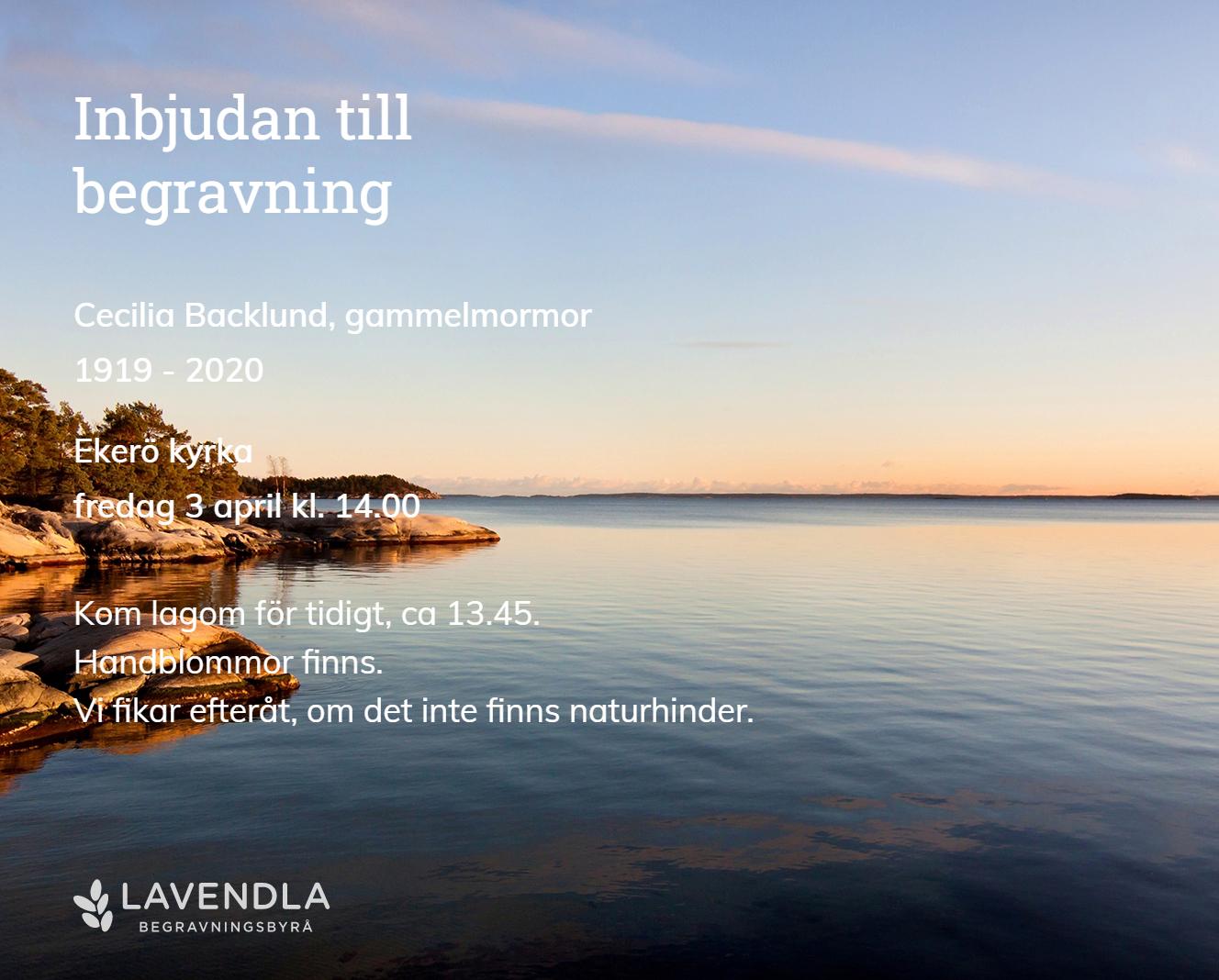 Inbjudningskort till ceremonin för Cecilia Backlund, gammelmormor