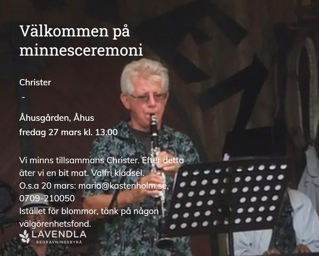 Inbjudningskort till ceremonin för Christer