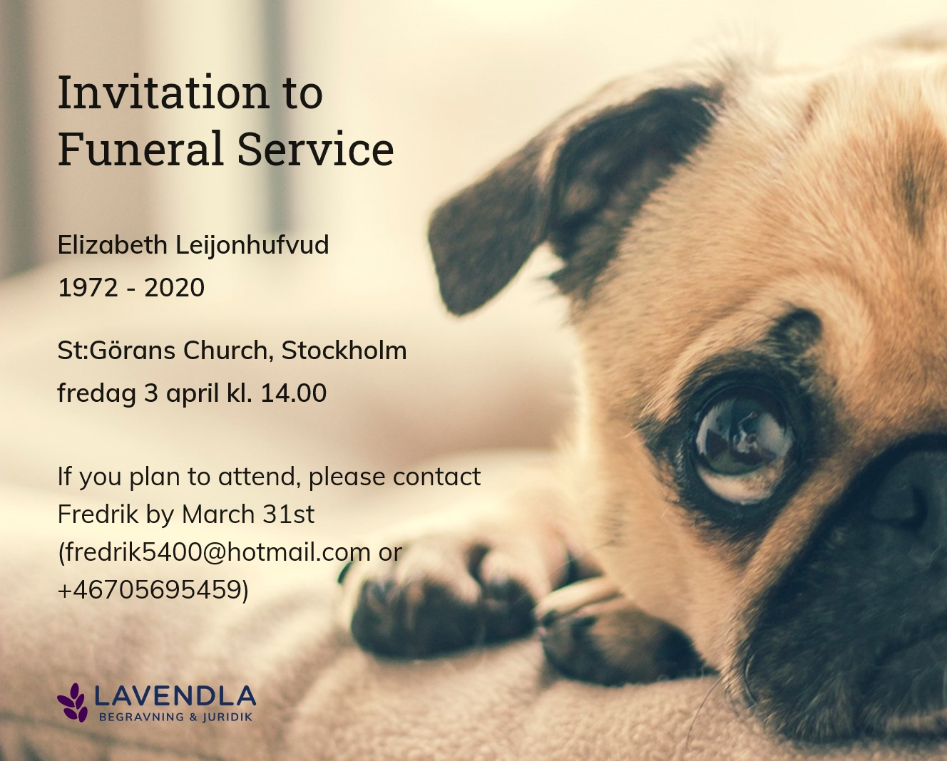 Inbjudningskort till ceremonin för Elizabeth Leijonhufvud