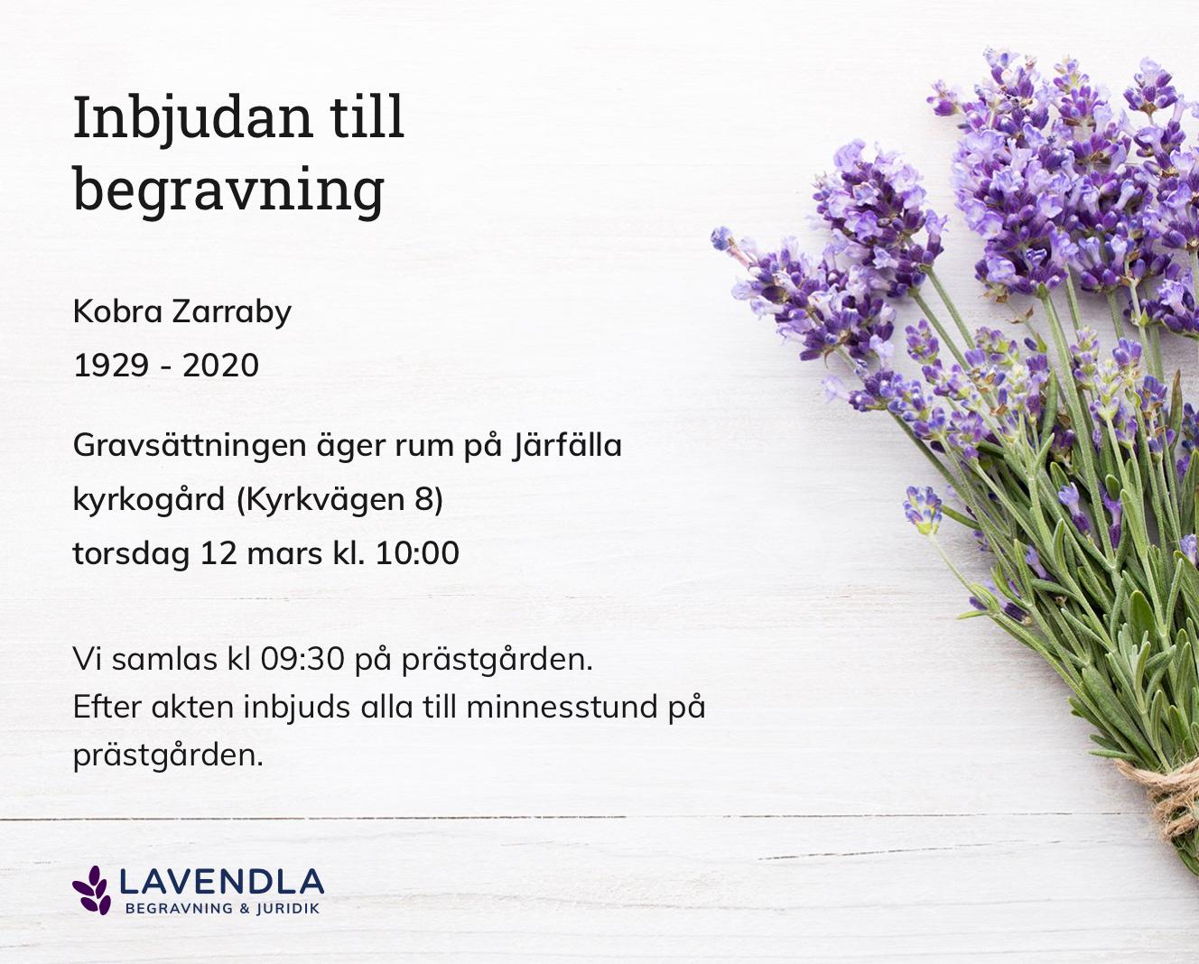 Inbjudningskort till ceremonin för Kobra Zarraby