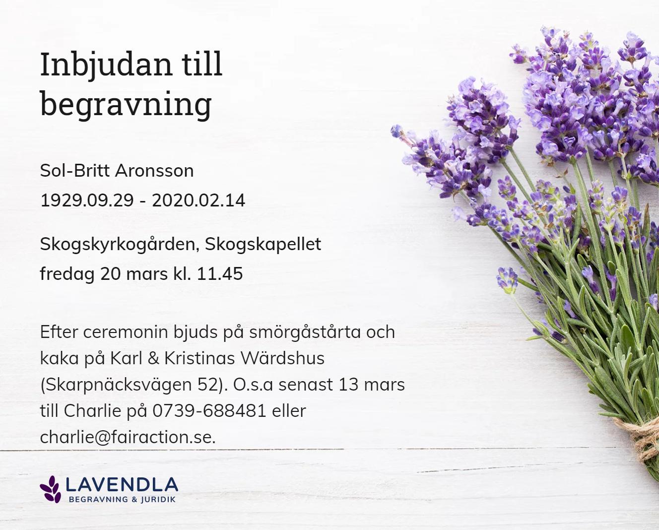 Inbjudningskort till ceremonin för Sol-Britt Aronsson