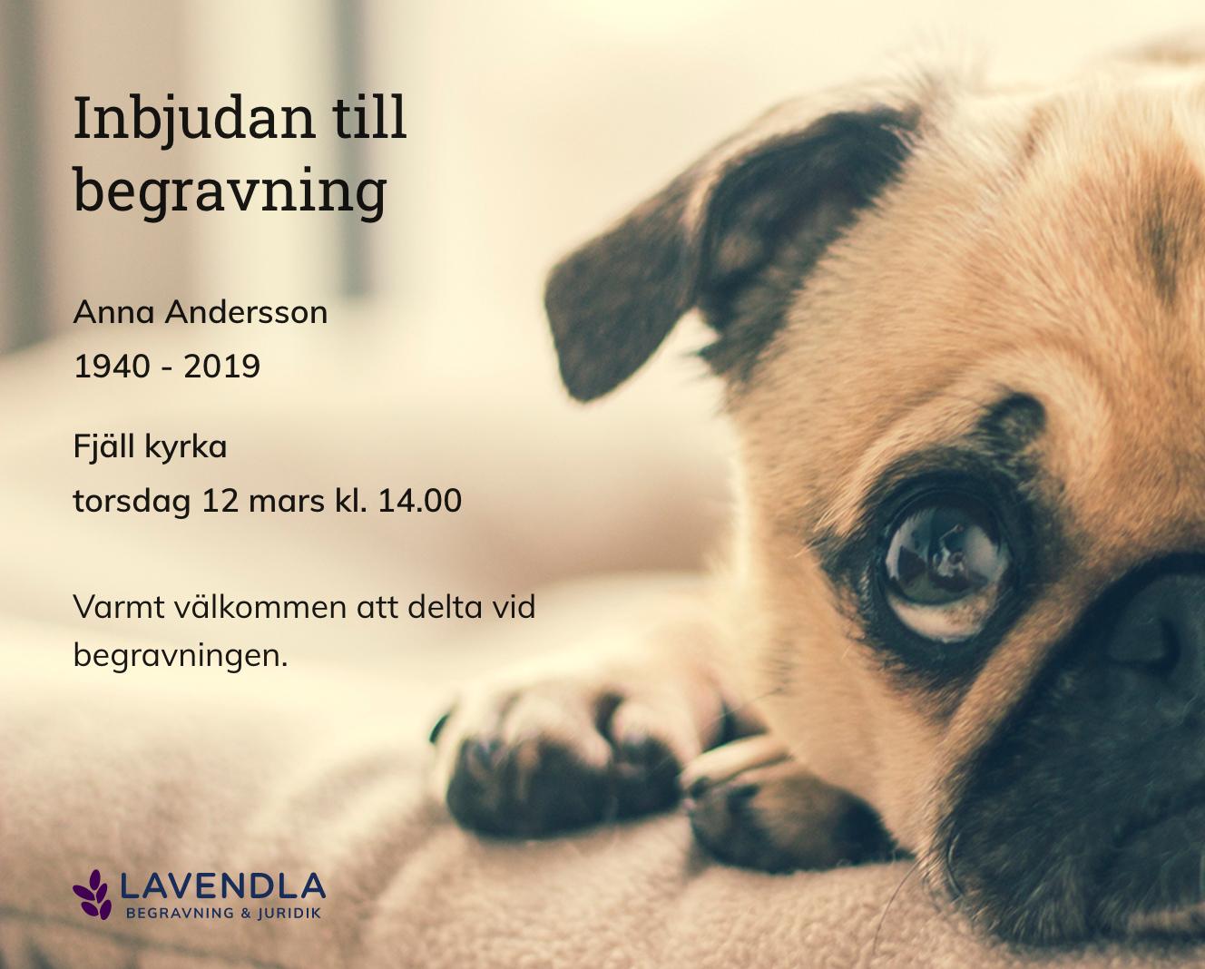 Inbjudningskort till ceremonin för Anna Andersson