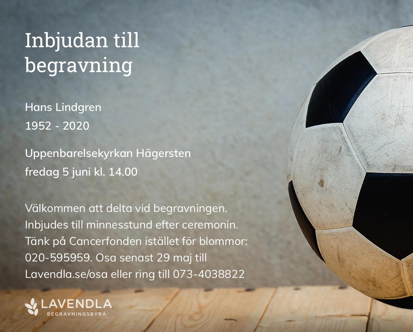 Inbjudningskort till ceremonin för Hans Lindgren