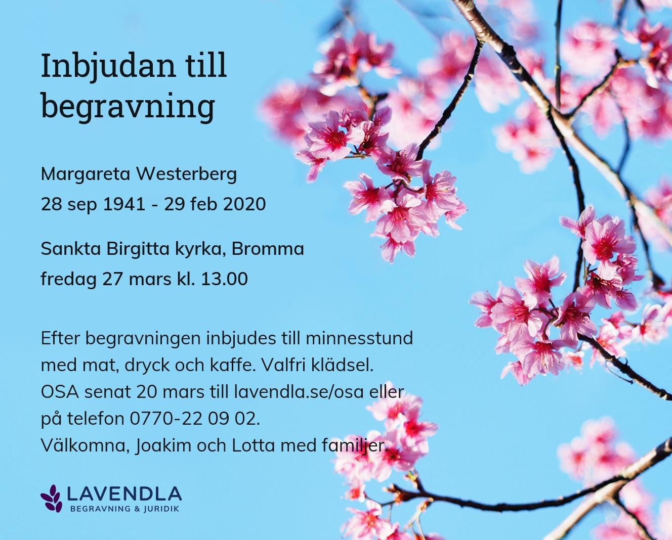 Inbjudningskort till ceremonin för Margareta Westerberg