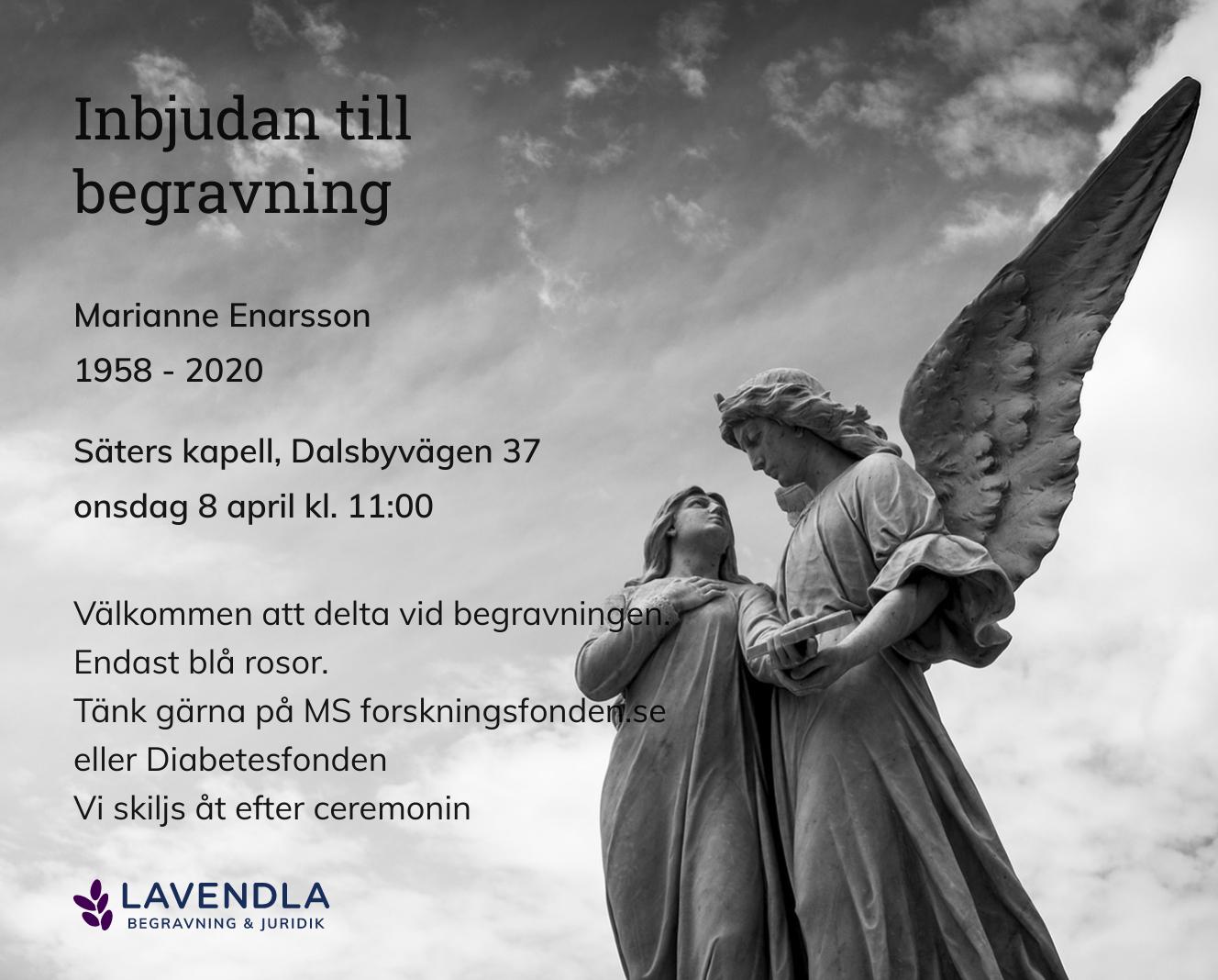 Inbjudningskort till ceremonin för Marianne Enarsson