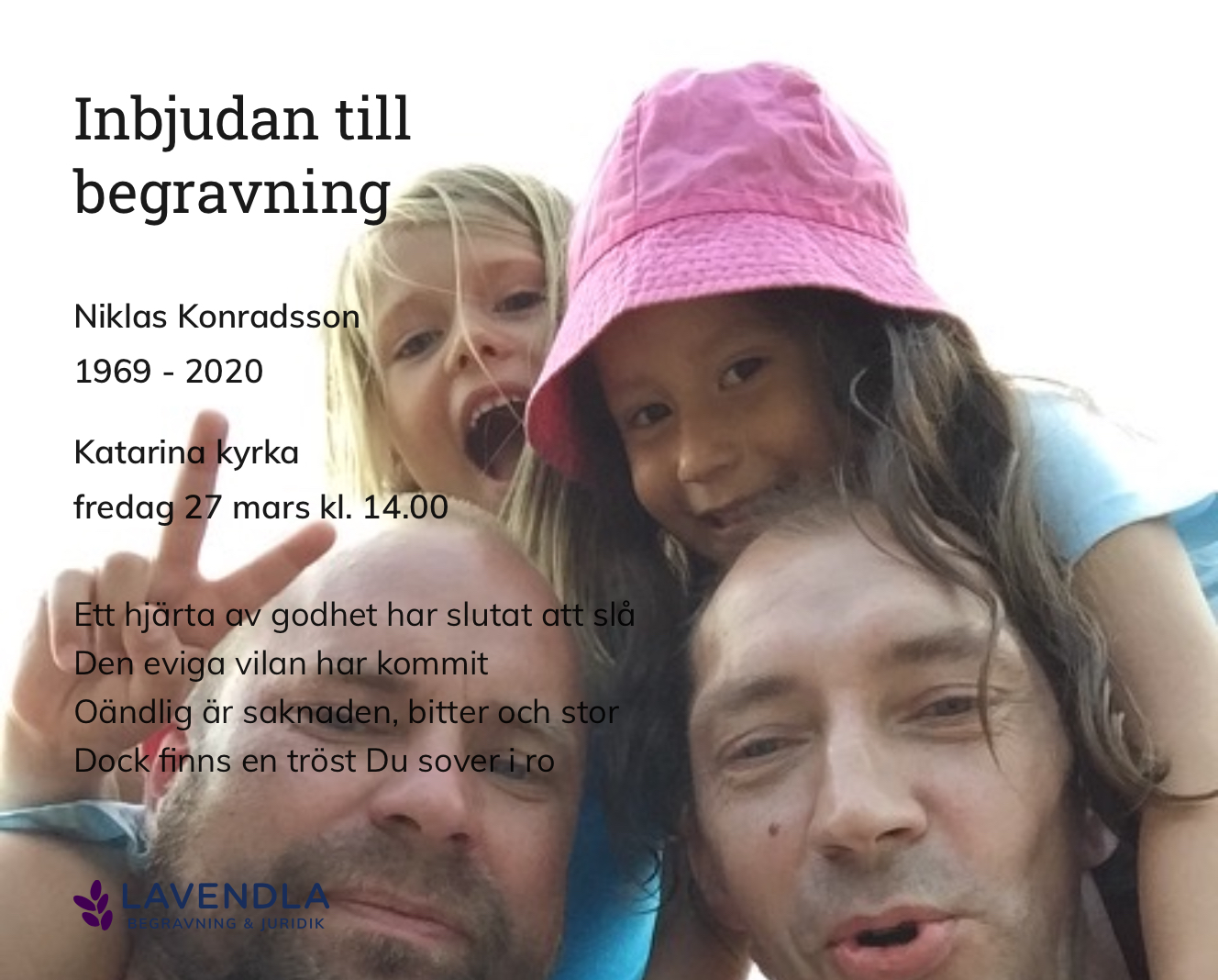 Inbjudningskort till ceremonin för Niklas Konradsson