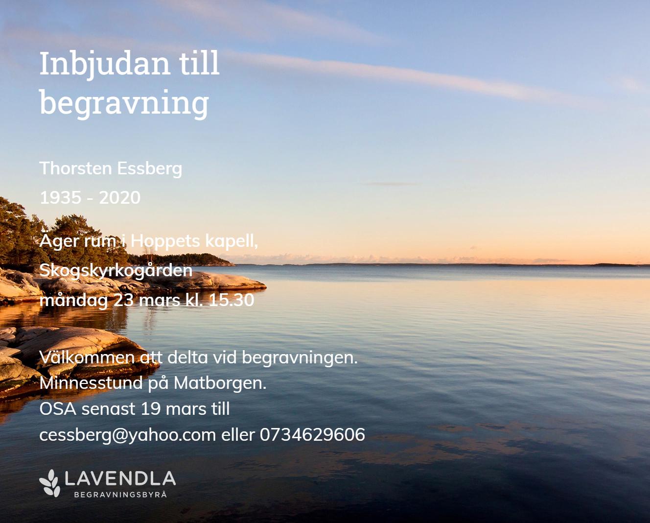 Inbjudningskort till ceremonin för Thorsten Essberg