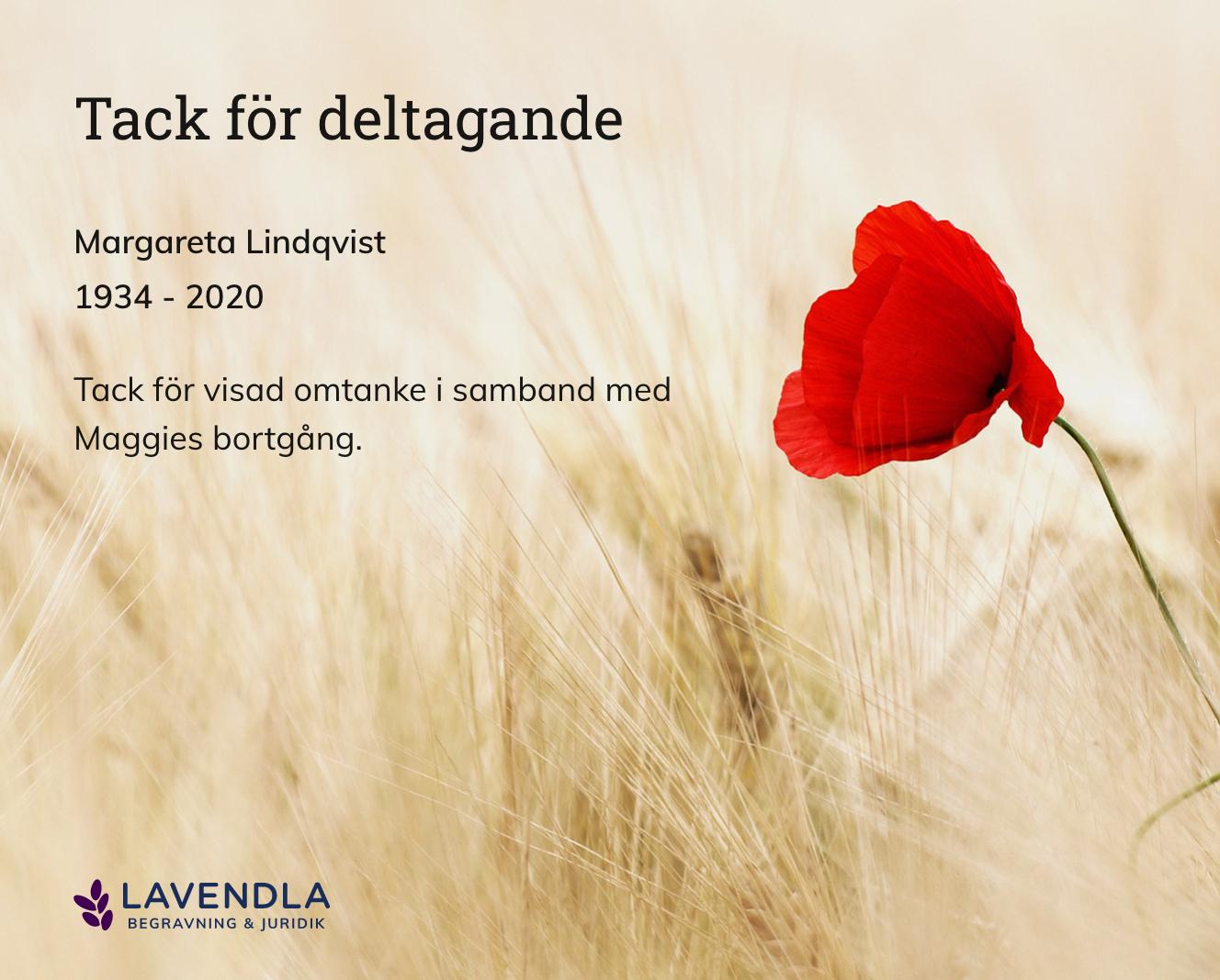 Inbjudningskort till ceremonin för Margareta Lindqvist