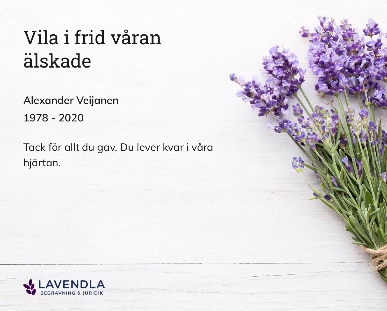 Inbjudningskort till ceremonin för Alexander Veijanen
