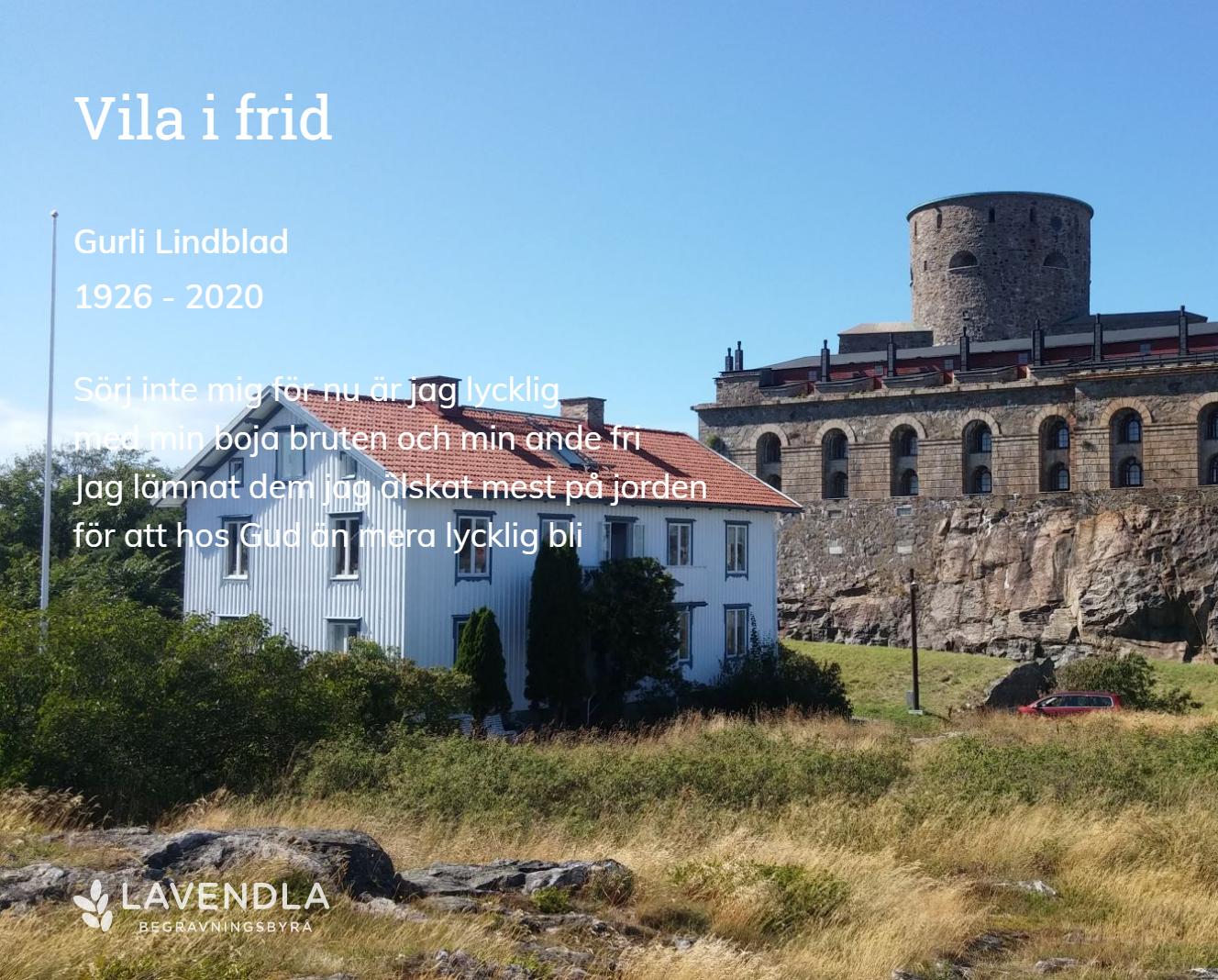 Inbjudningskort till ceremonin för Gurli Lindblad
