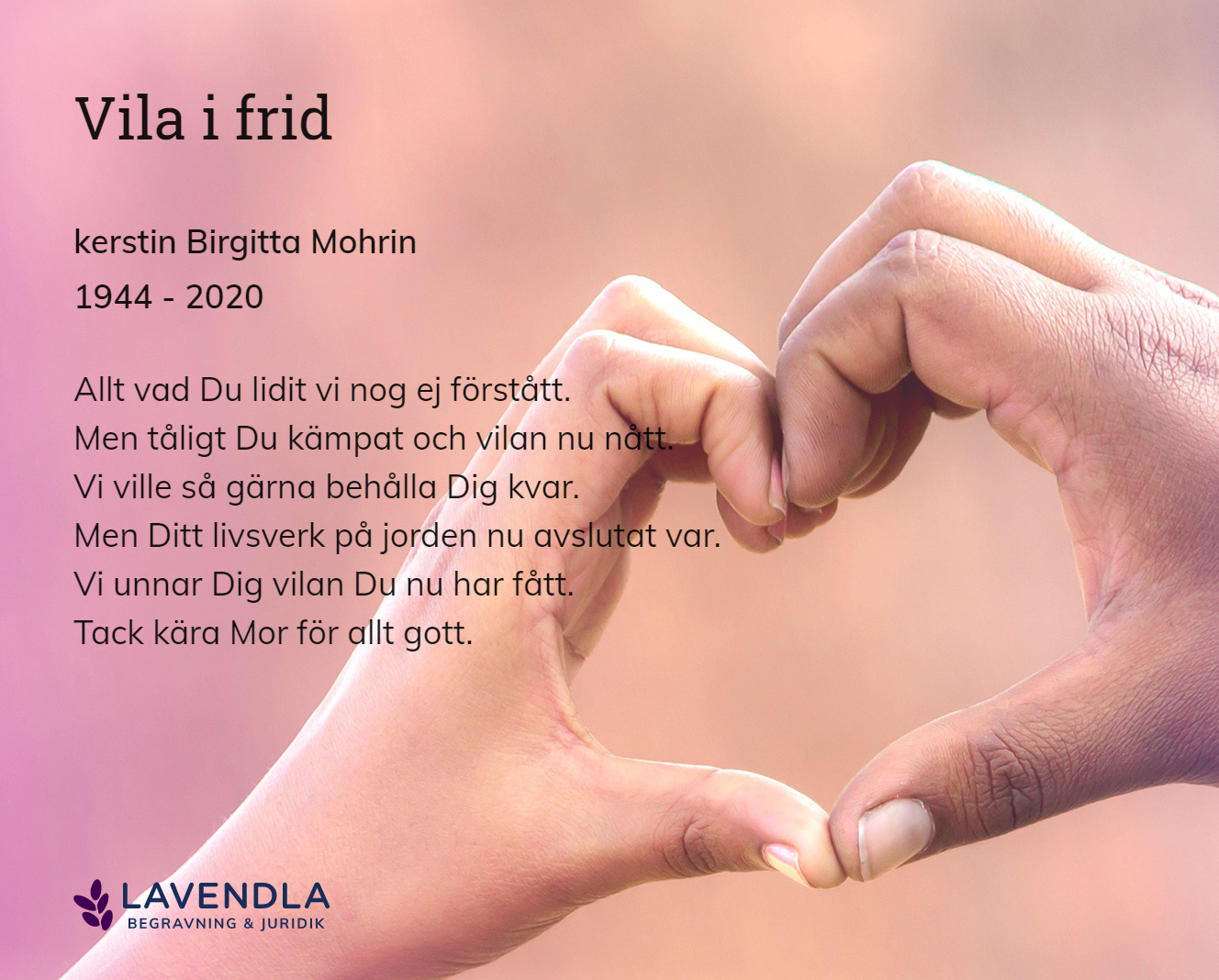 Inbjudningskort till ceremonin för kerstin Birgitta Mohrin