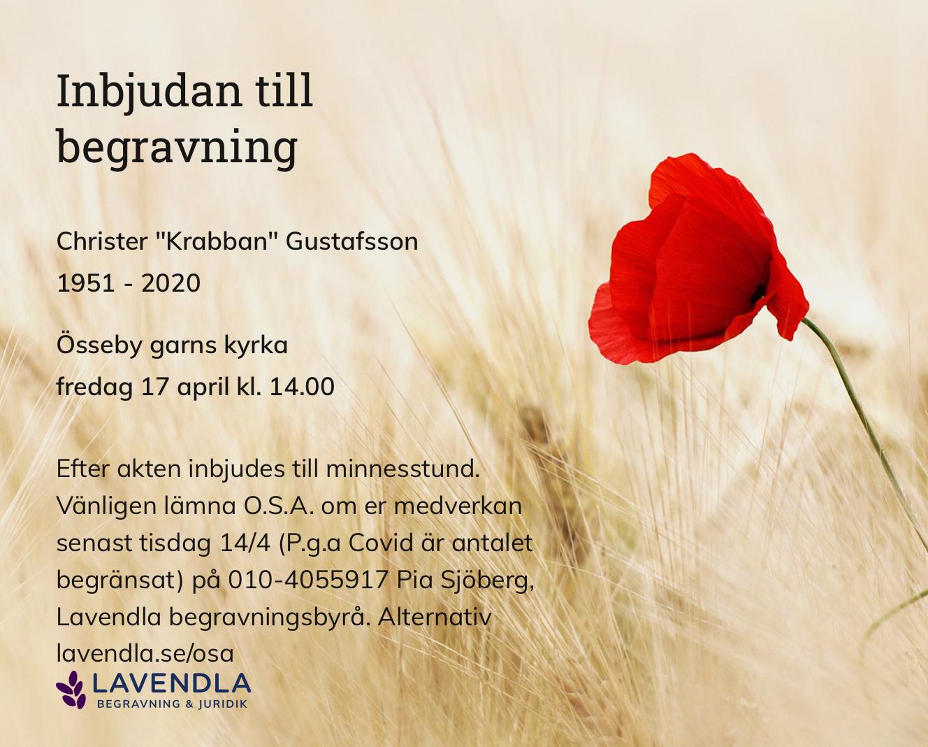 """Inbjudningskort till ceremonin för Christer """"Krabban"""" Gustafsson"""