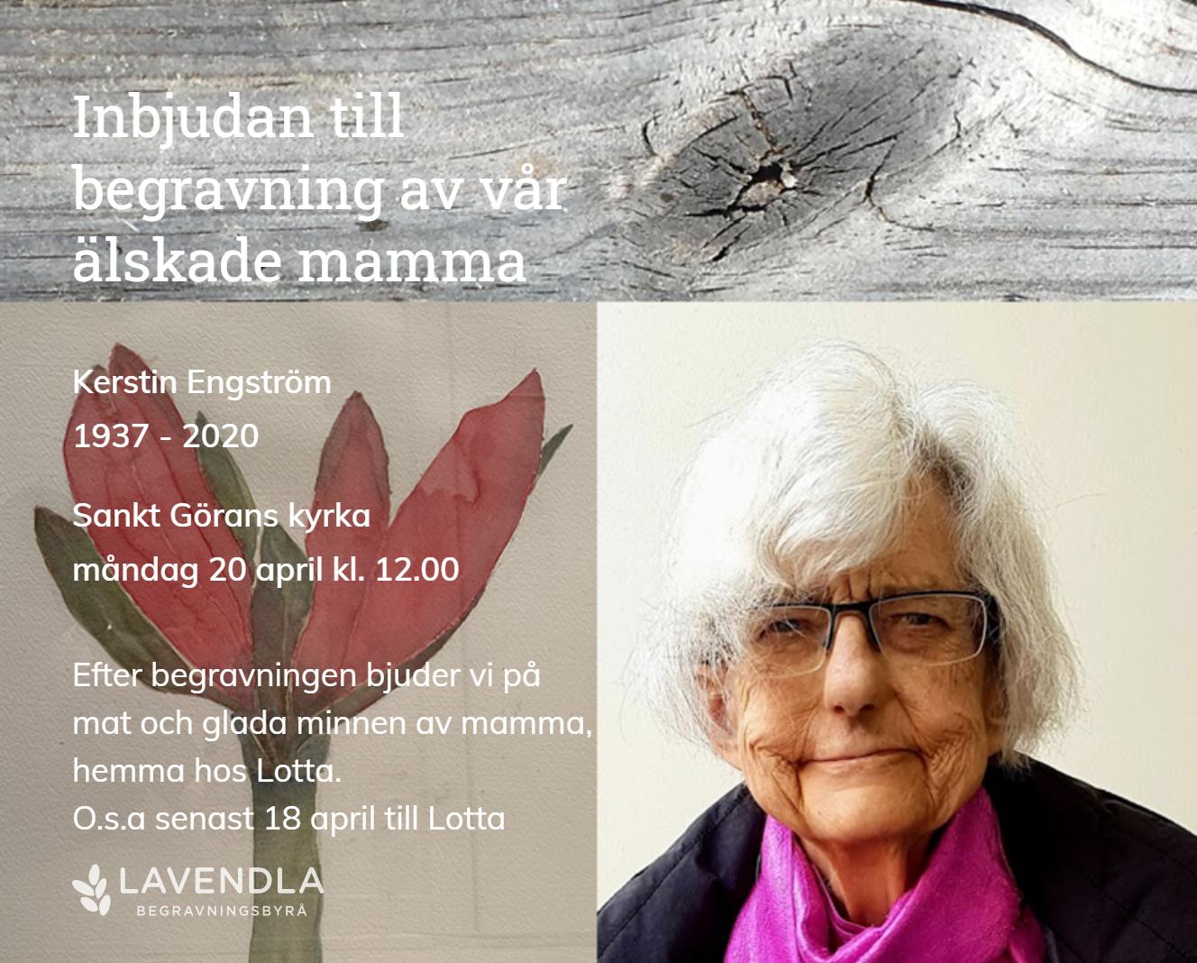 Inbjudningskort till ceremonin för Kerstin Engström