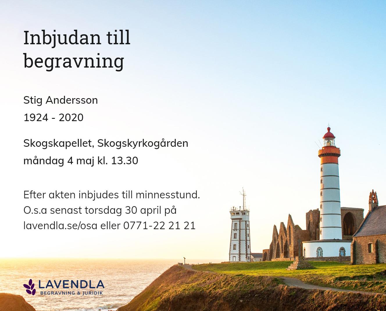 Inbjudningskort till ceremonin för Stig Andersson
