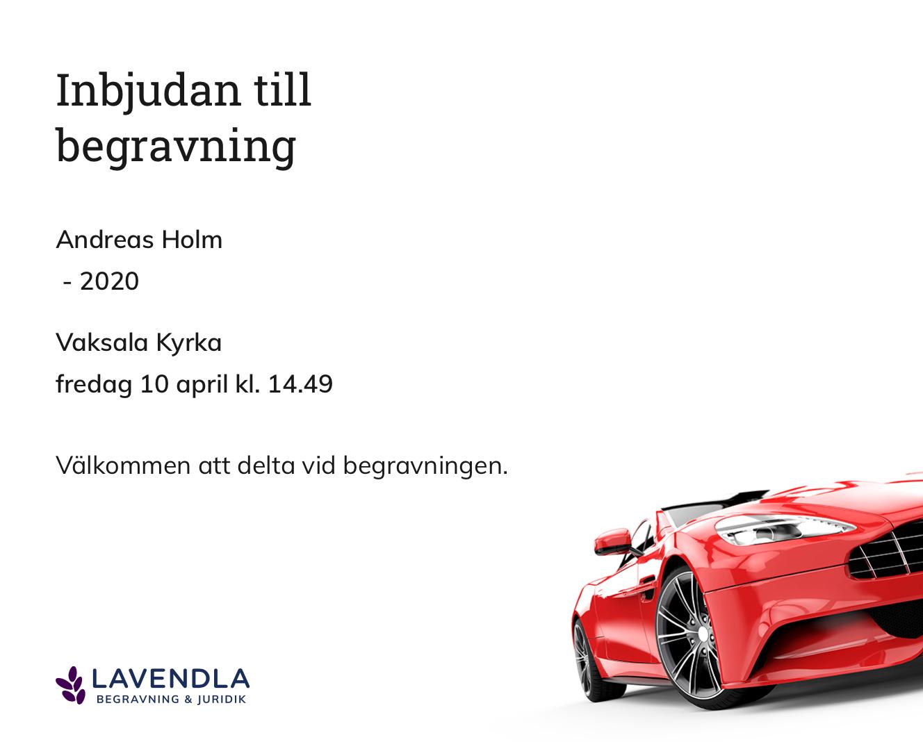 Inbjudningskort till ceremonin för Andreas Holm