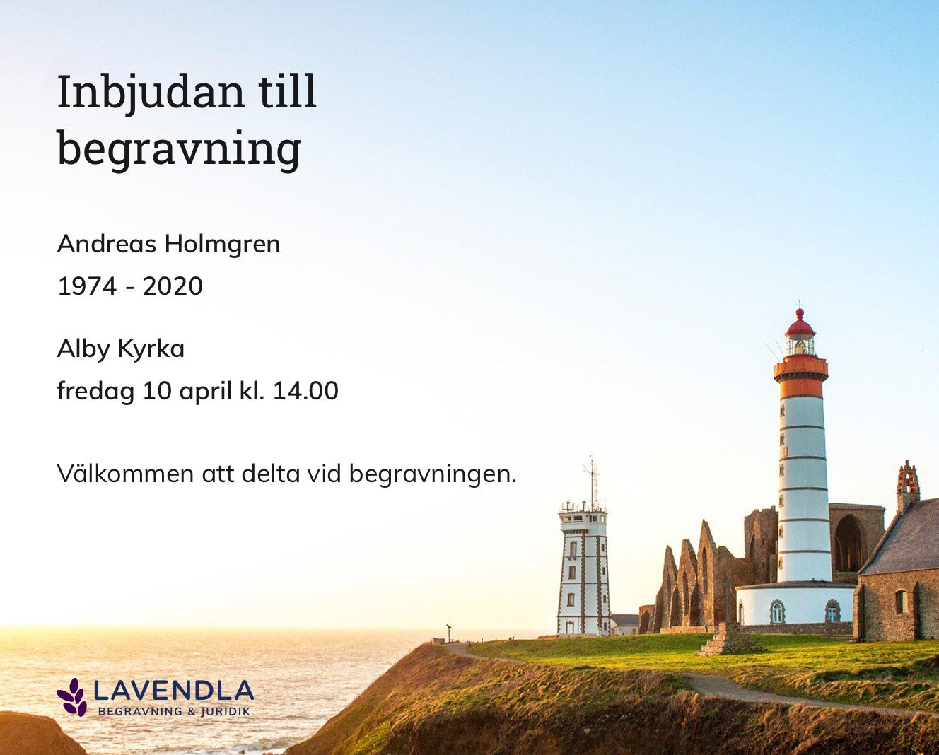 Inbjudningskort till ceremonin för Andreas Holmgren