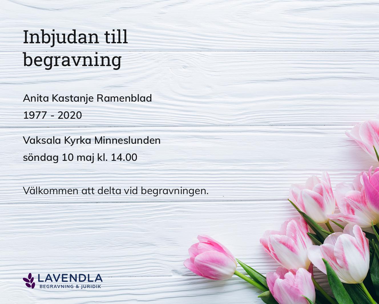 Inbjudningskort till ceremonin för Anita Kastanje Ramenblad