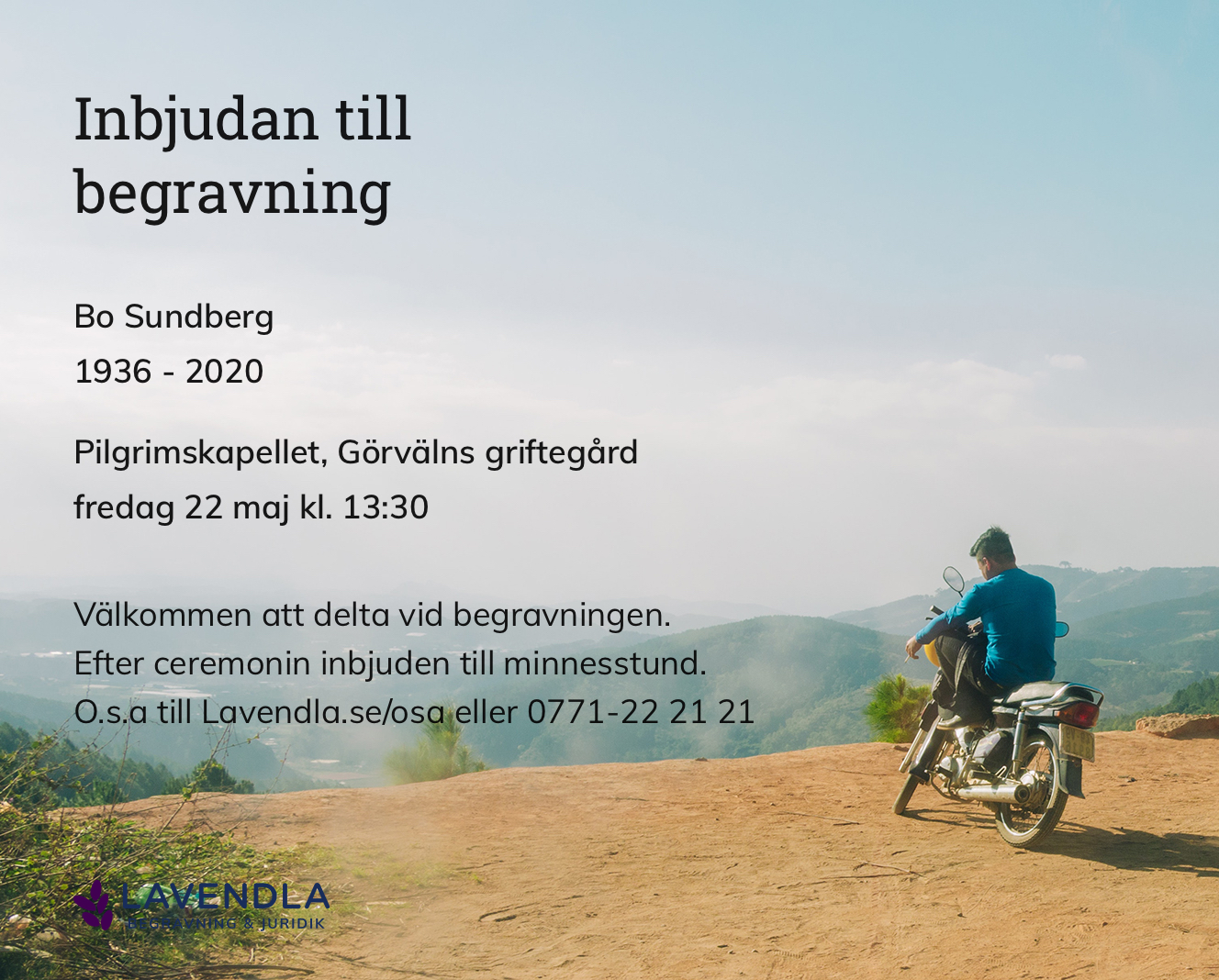 Inbjudningskort till ceremonin för Bo Sundberg