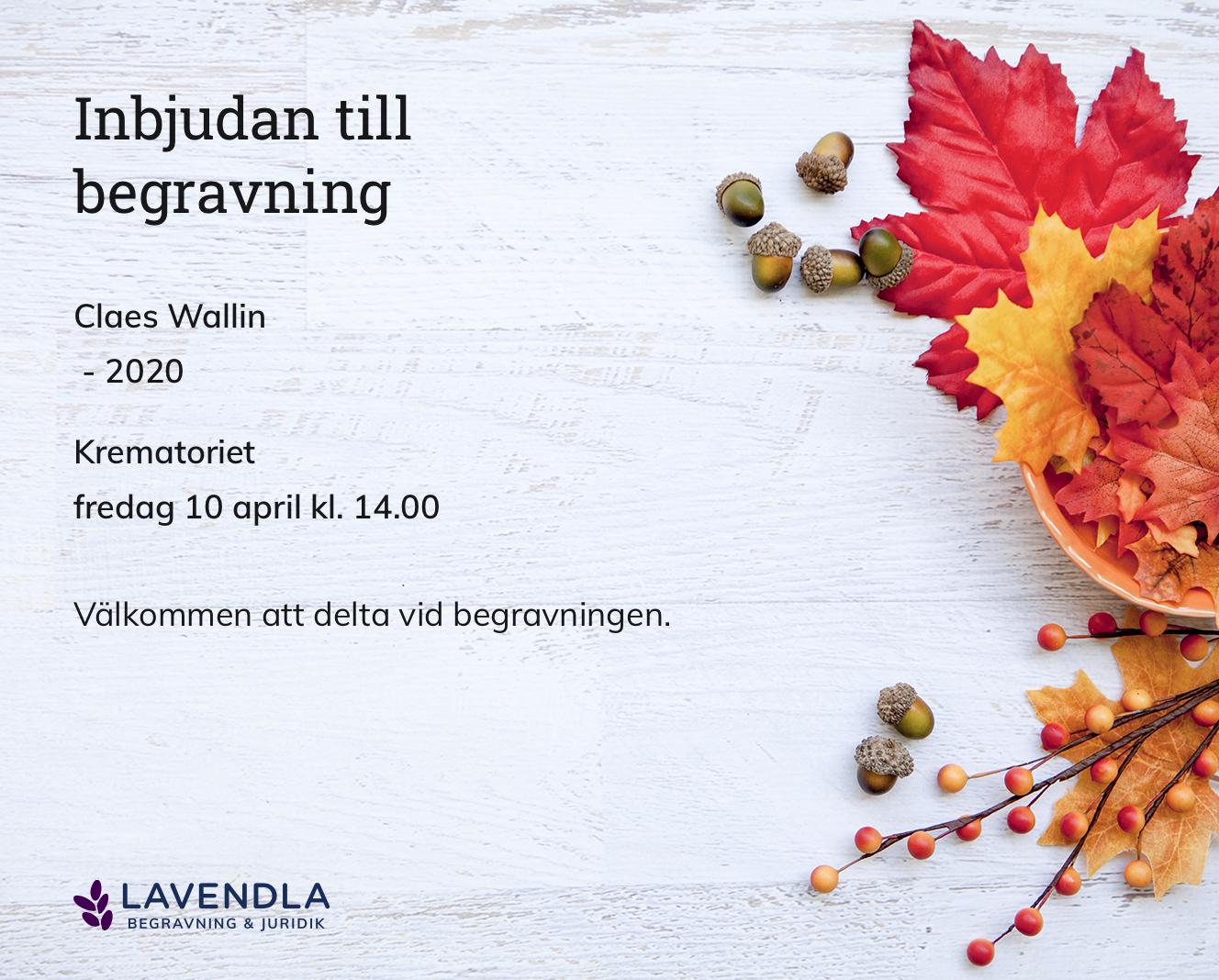 Inbjudningskort till ceremonin för Claes Wallin