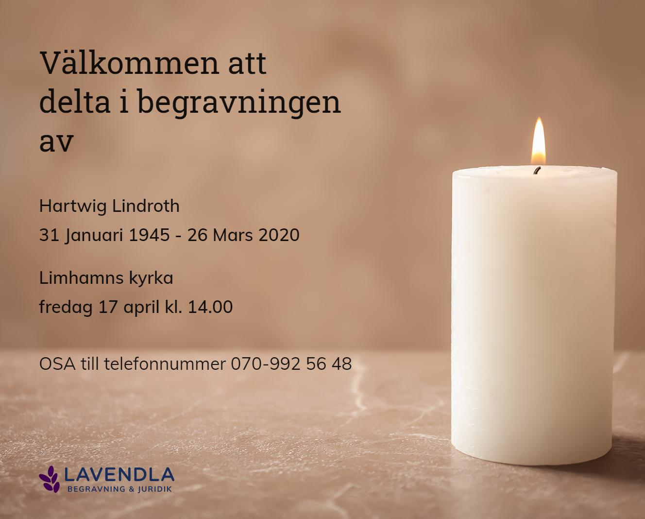 Inbjudningskort till ceremonin för Hartwig Lindroth