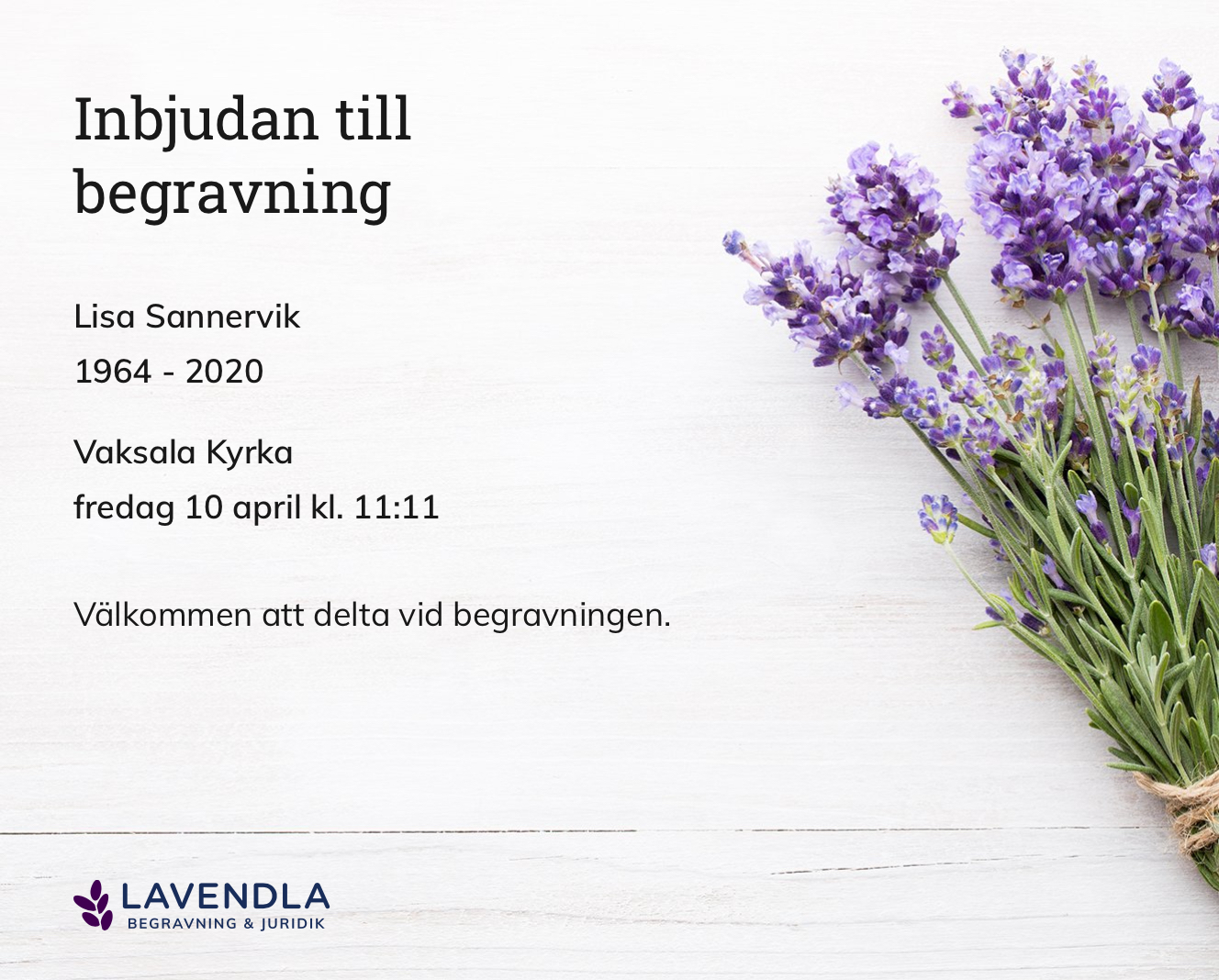 Inbjudningskort till ceremonin för Lisa Sannervik