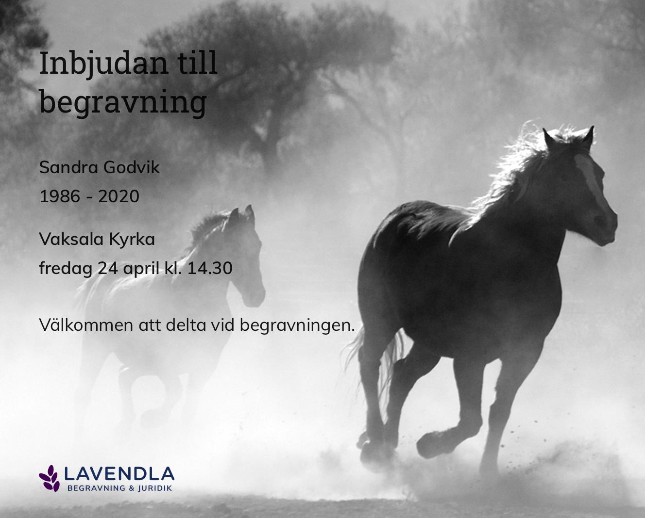 Inbjudningskort till ceremonin för Sandra Godvik