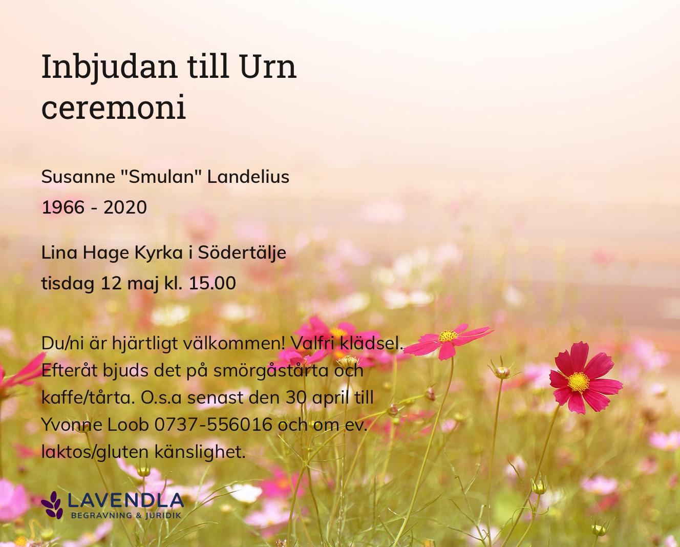 """Inbjudningskort till ceremonin för Susanne """"Smulan"""" Landelius"""