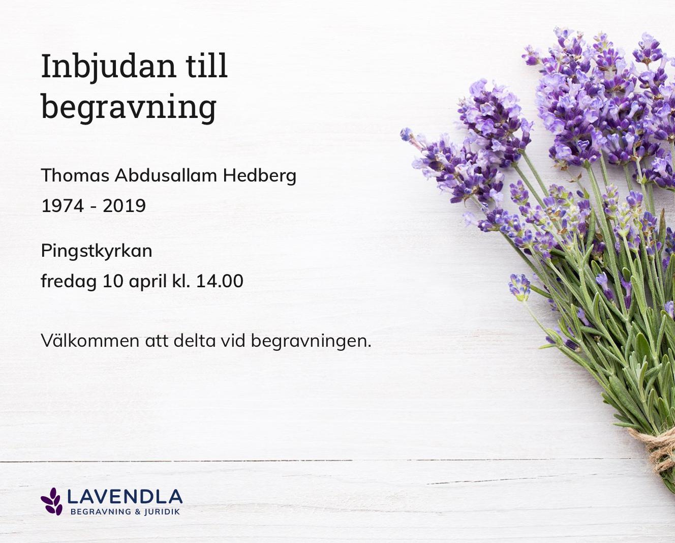 Inbjudningskort till ceremonin för Thomas Abdusallam Hedberg