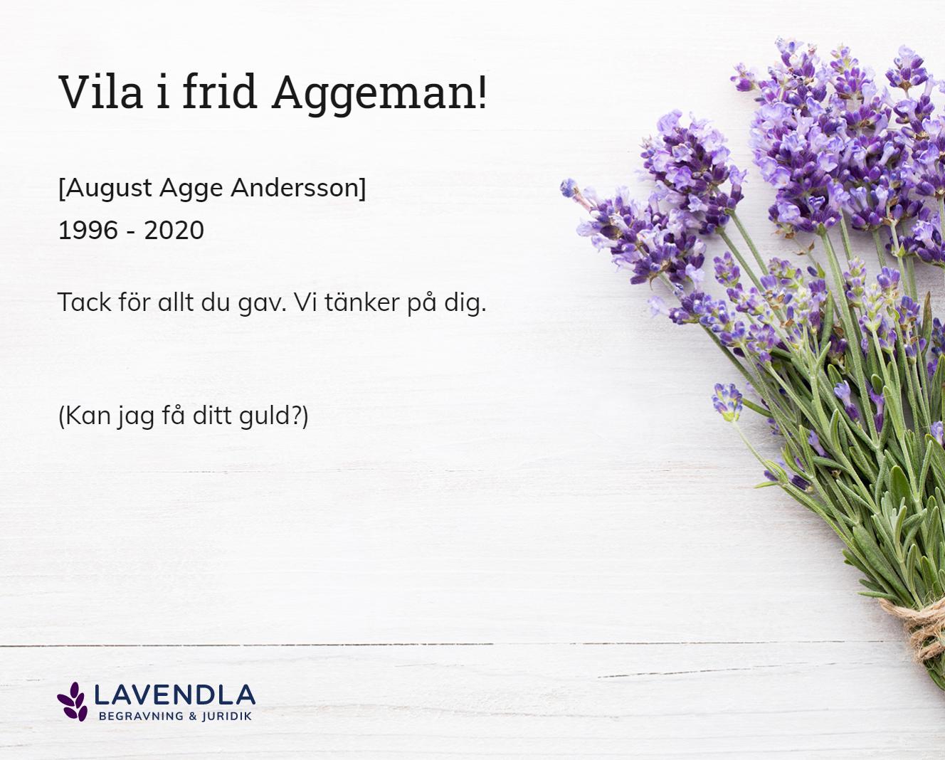 Inbjudningskort till ceremonin för [August Agge Andersson]