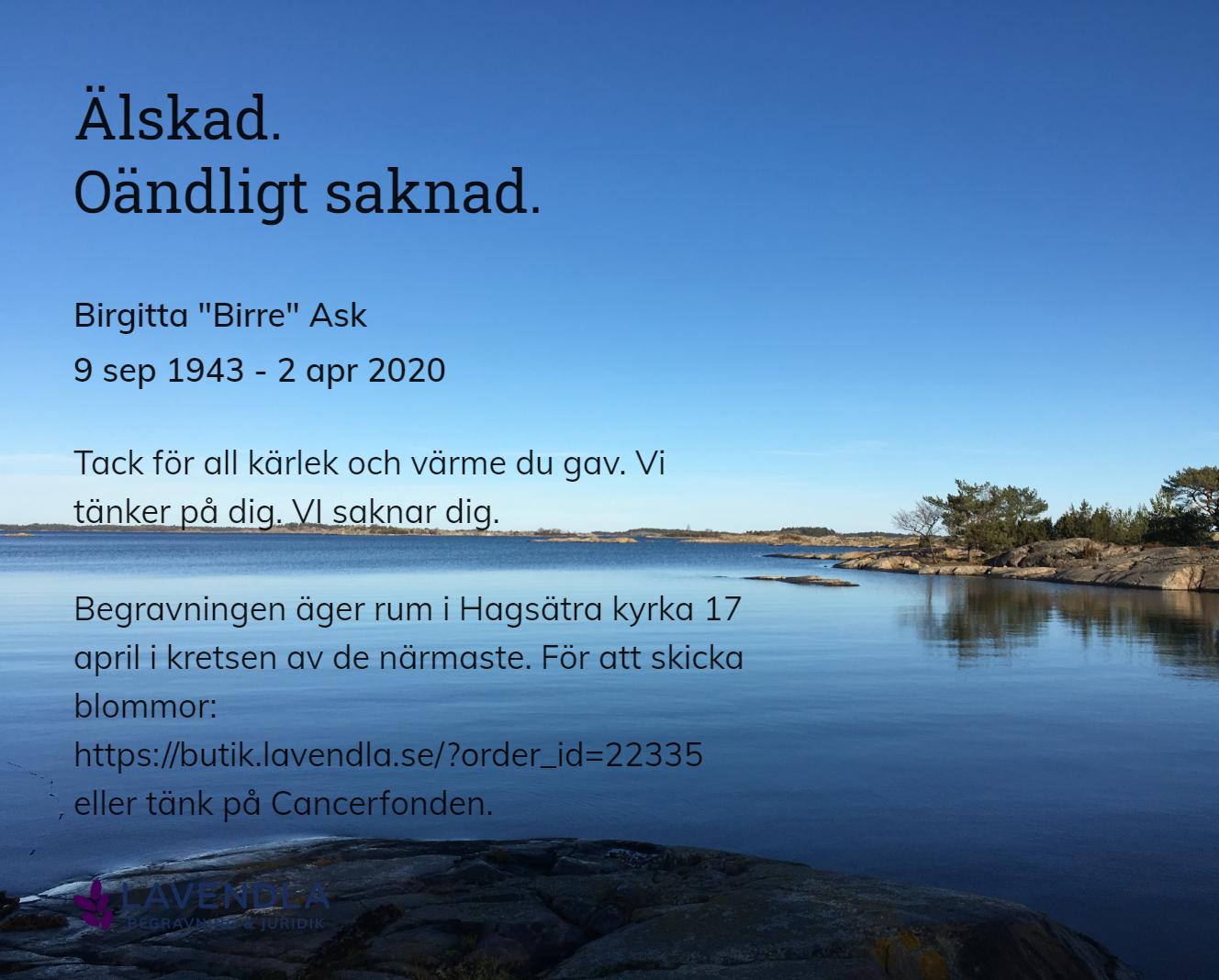"""Inbjudningskort till ceremonin för Birgitta """"Birre"""" Ask"""