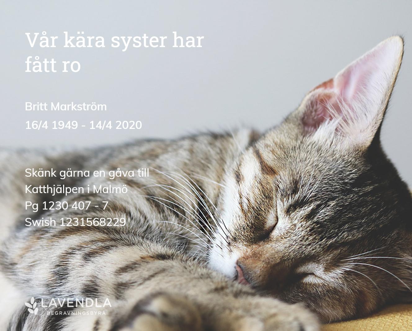 Inbjudningskort till ceremonin för Britt Markström